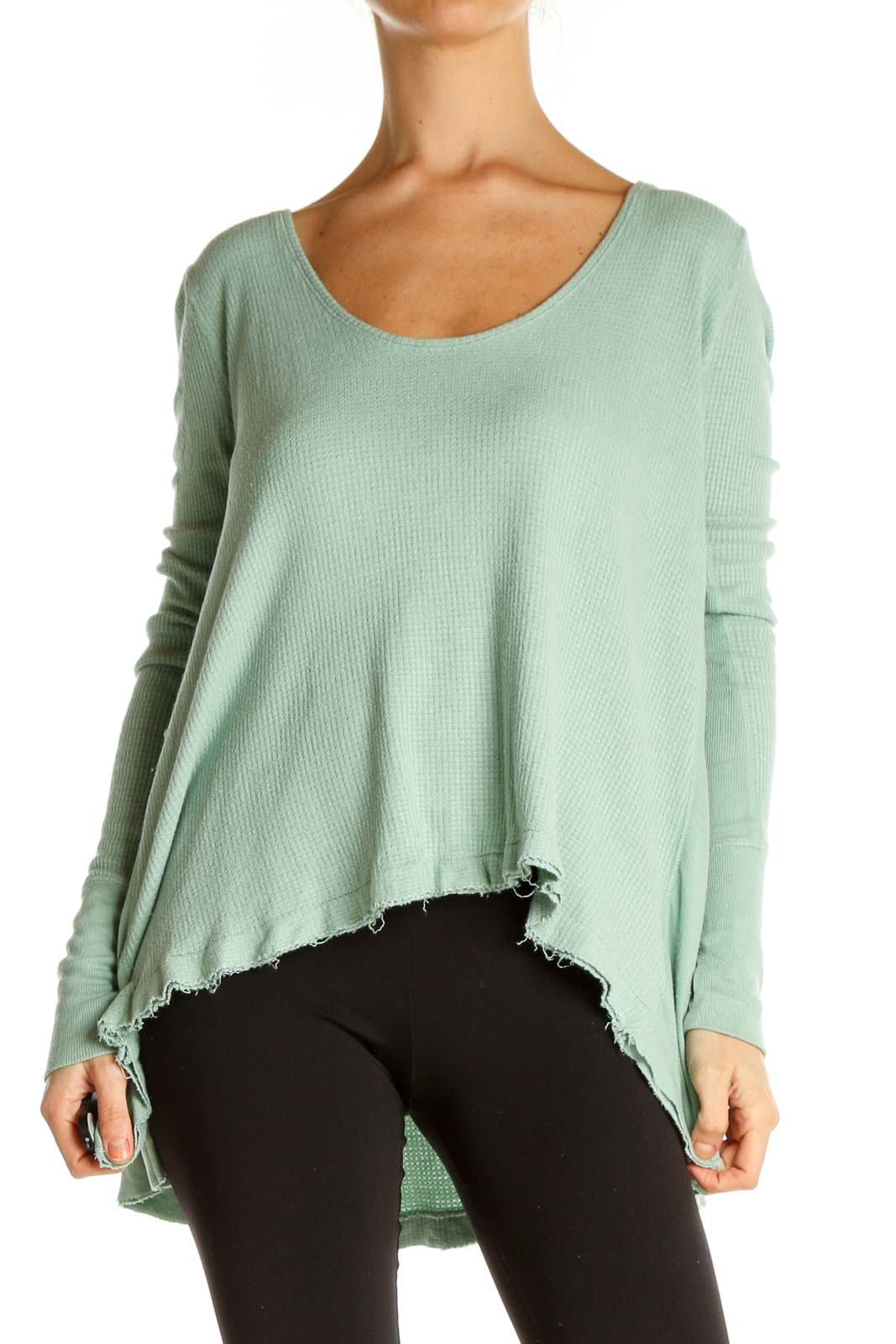 Green Solid Casual Sweater Front