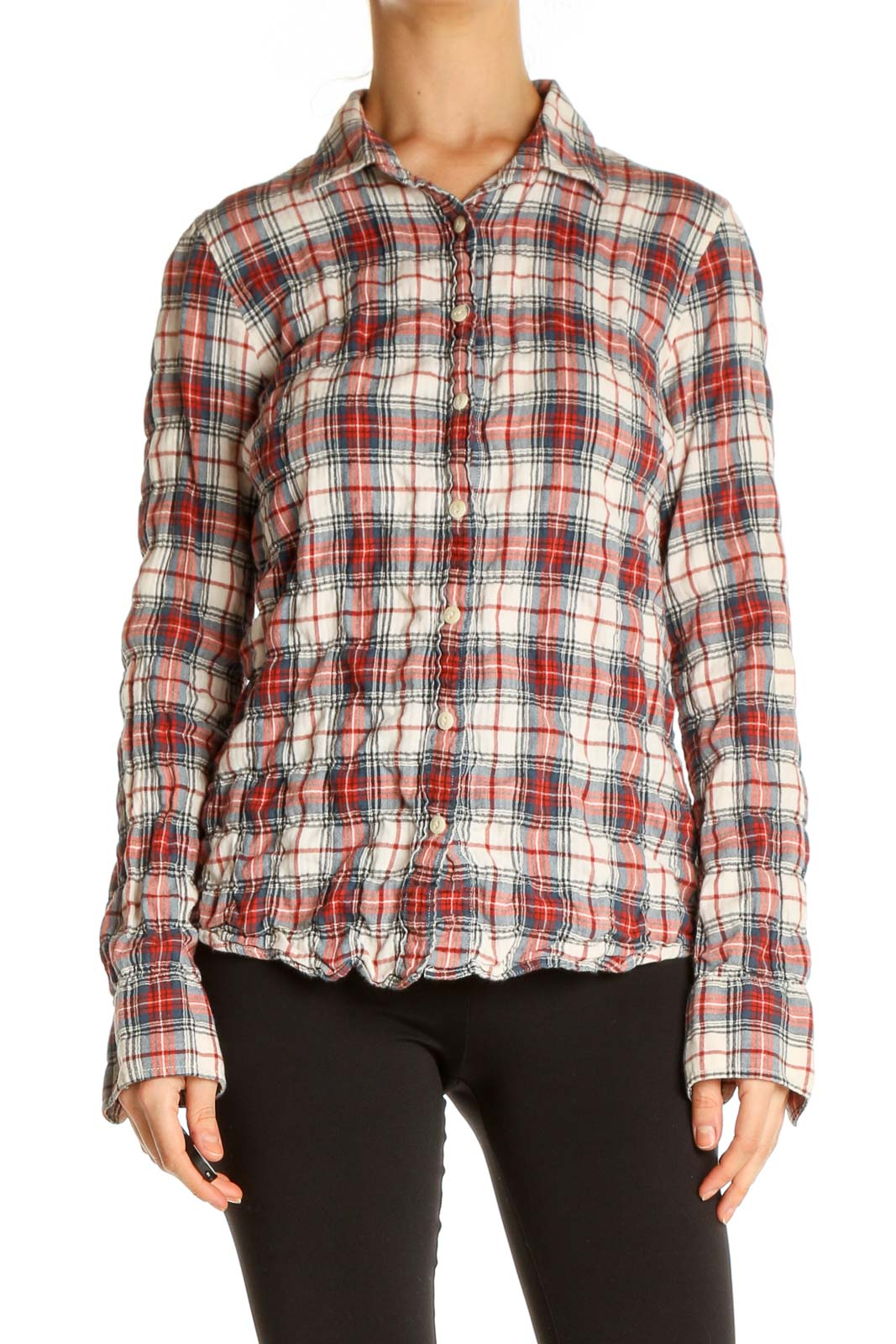 Red Checkered Casual Shirt Front