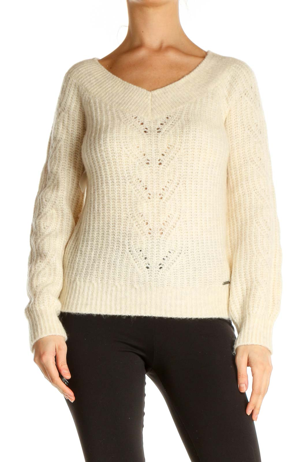 Beige Textured All Day Wear Sweater Front
