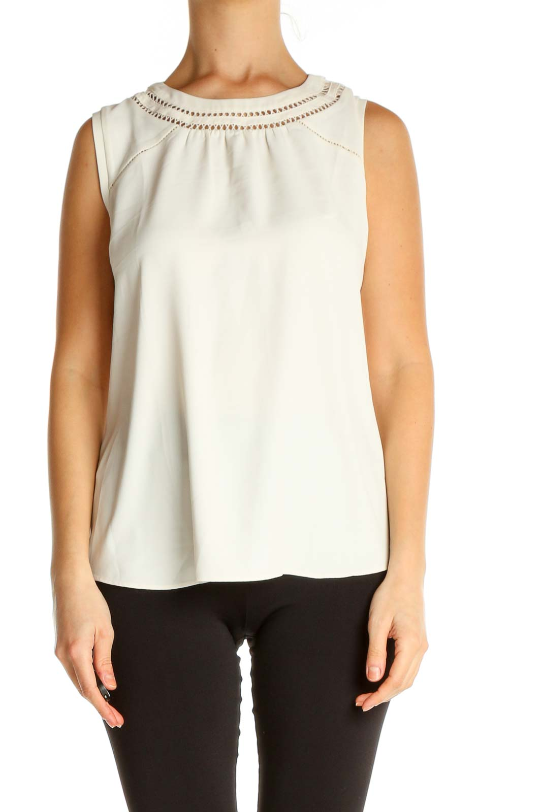 Beige Solid Brunch Blouse Front