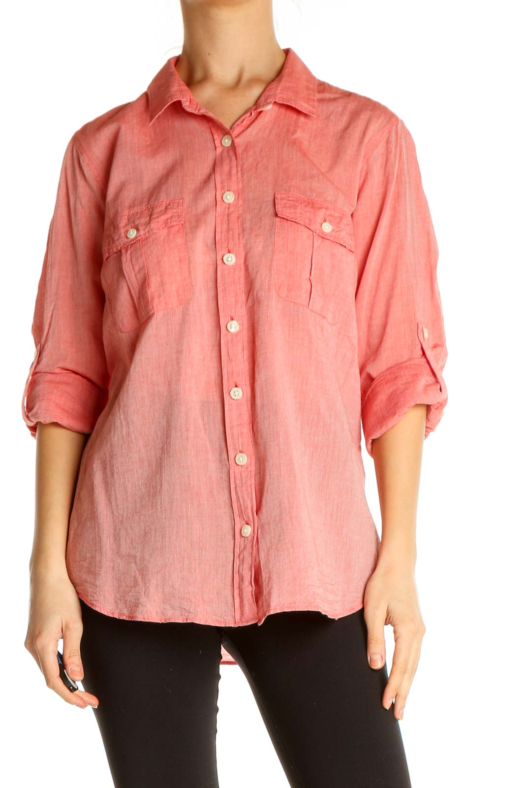 Pink Solid All Day Wear Shirt Front