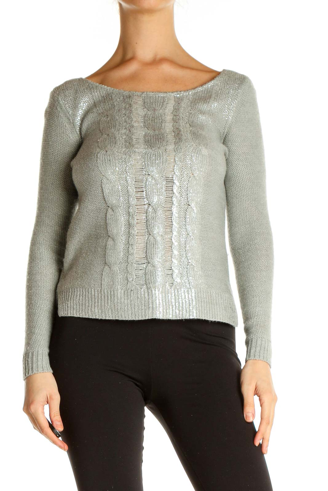 Gray Textured Chic Sweater Front