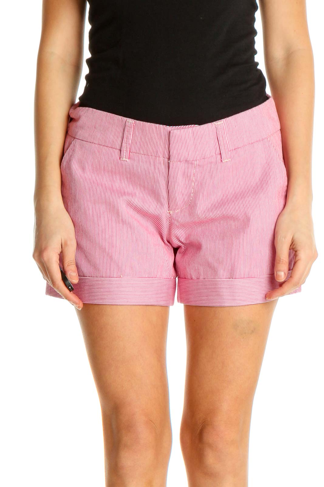 Red Solid Casual Shorts Front