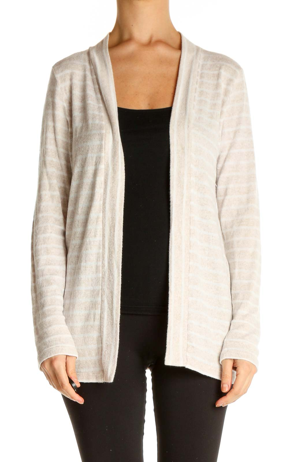 Beige Striped Cardigan Front