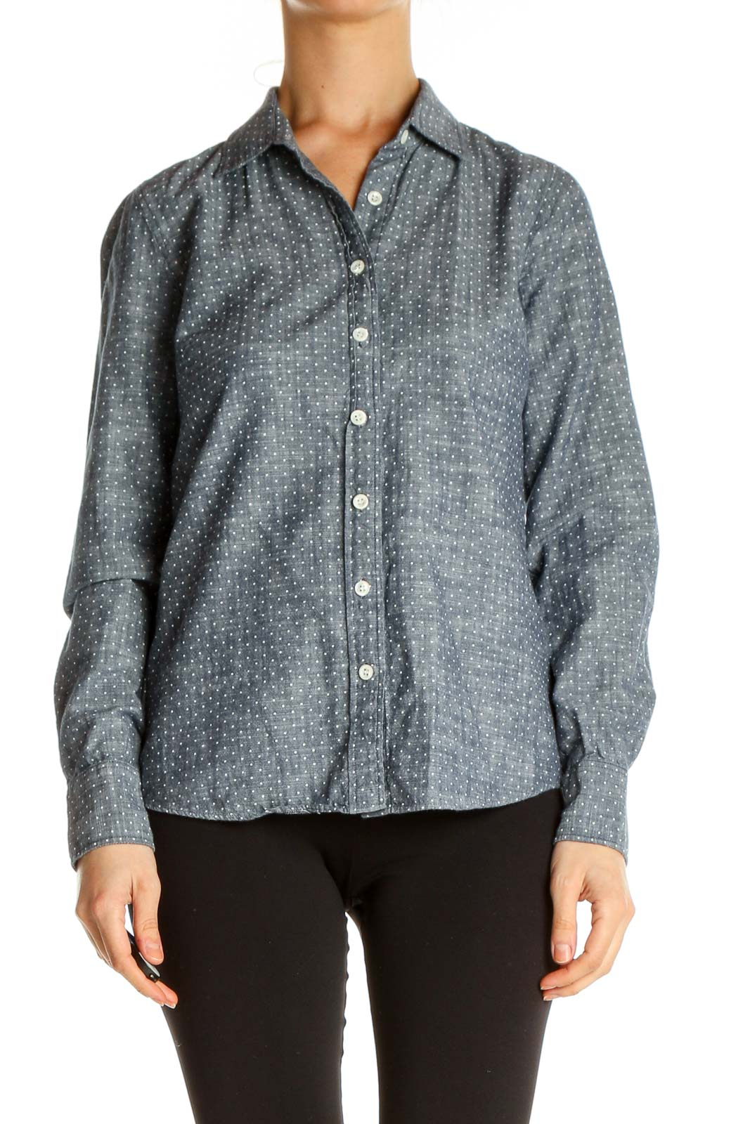 Gray Object Print All Day Wear Shirt Front