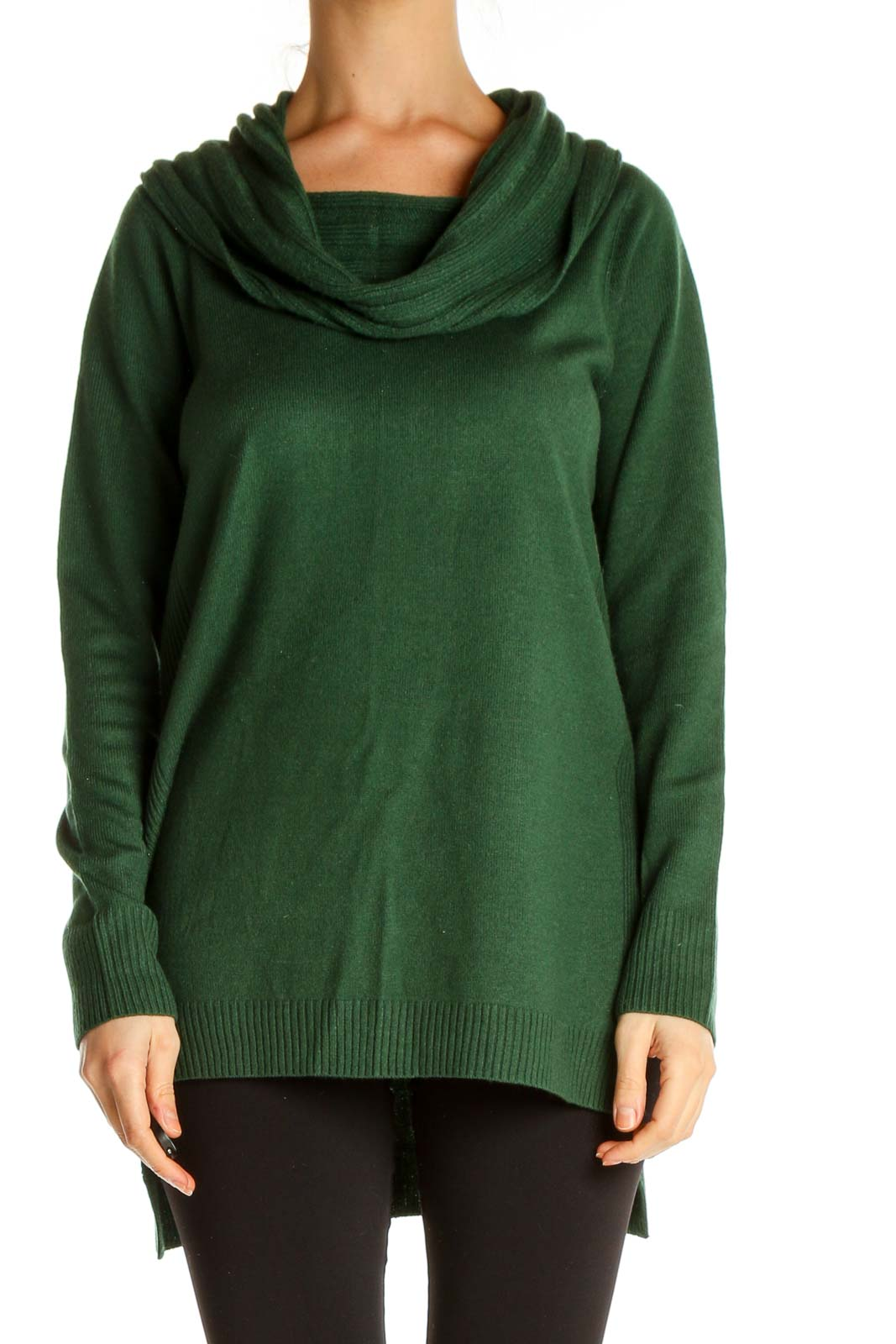 Green Solid Classic Sweater Front