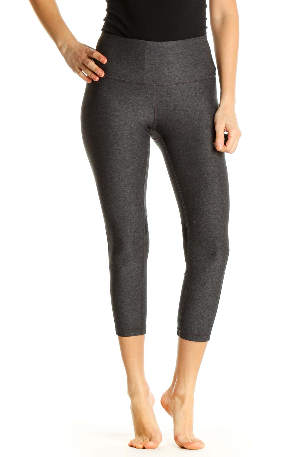 Gray Textured All Day Wear Leggings Front