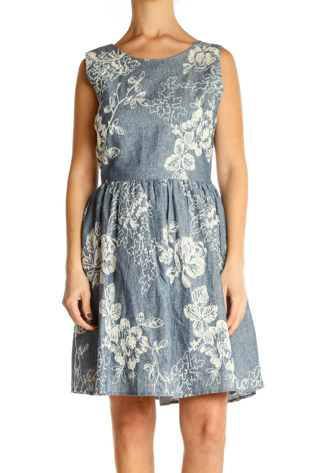 Gray Cocktail Fit & Flare Dress Front