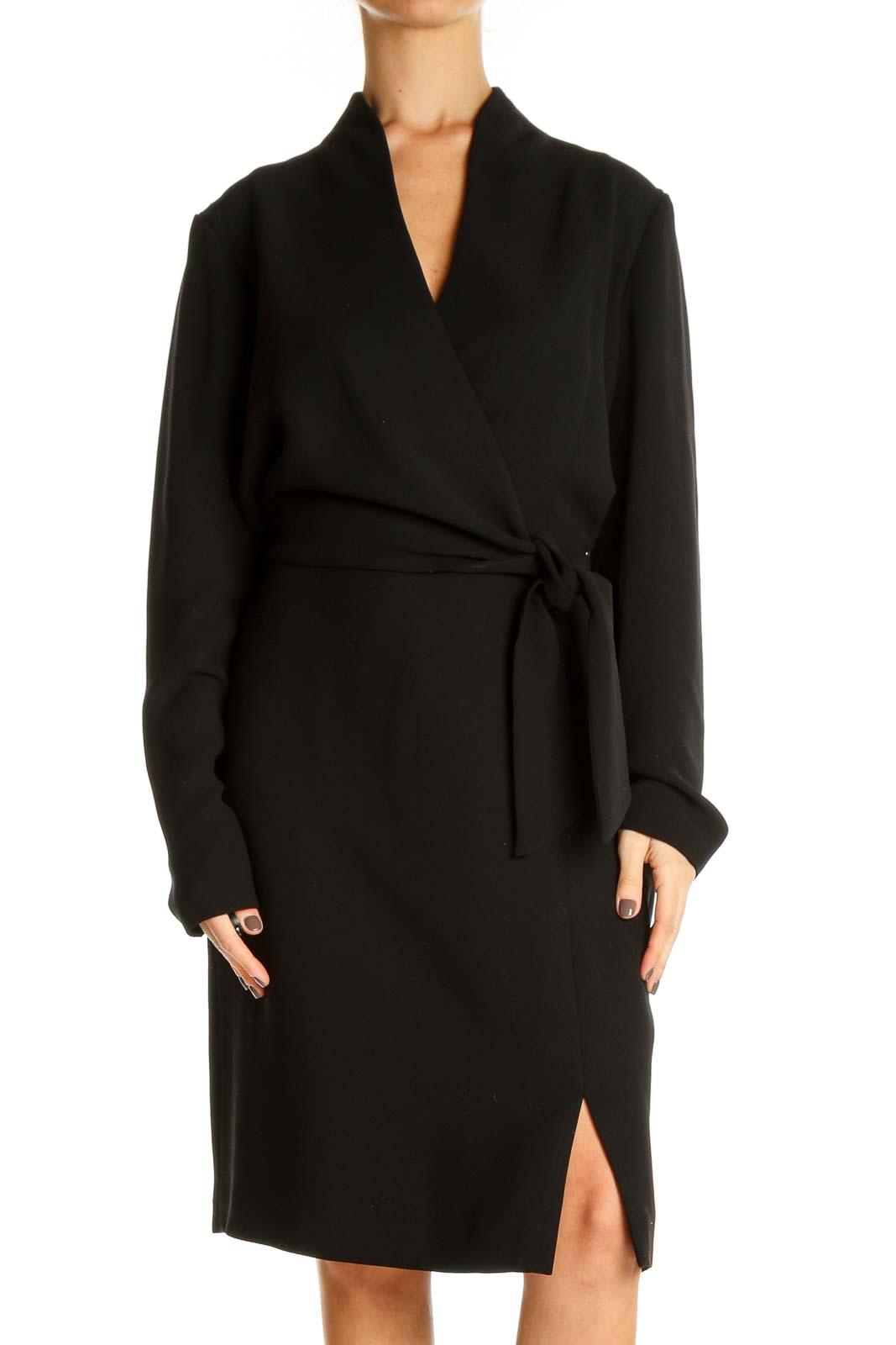 Black Solid Work Sheath Dress Front