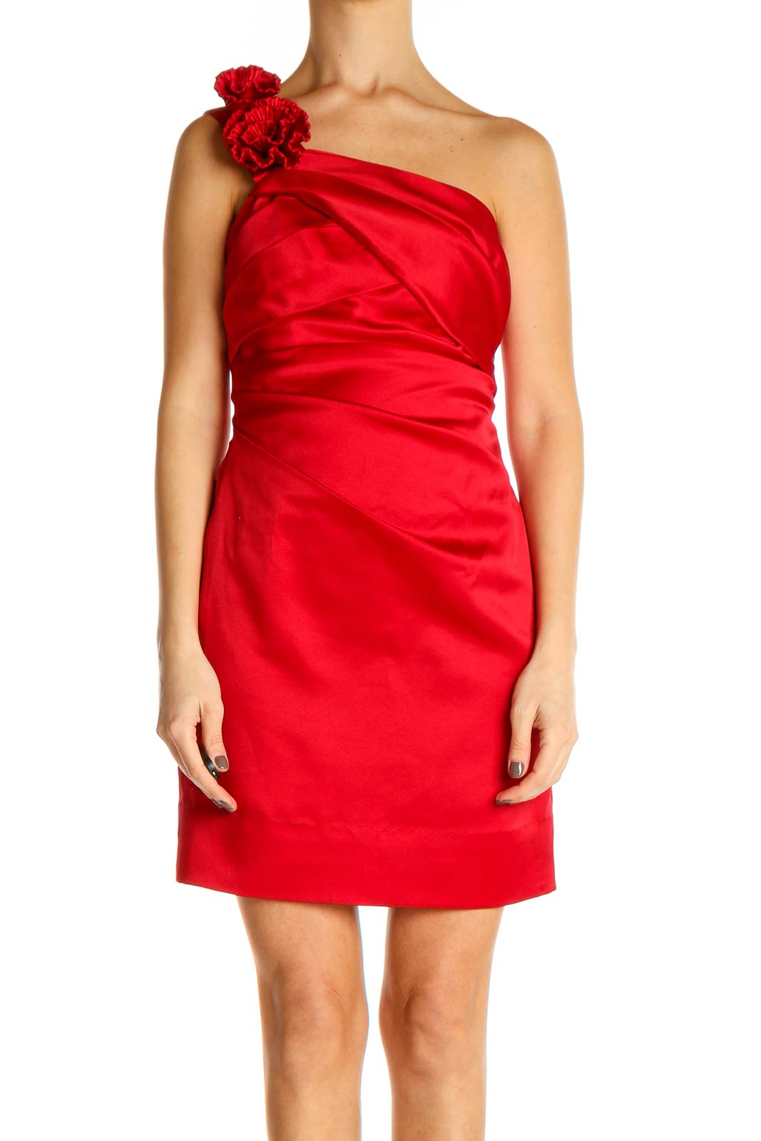 Red Solid Day Sheath Dress Front