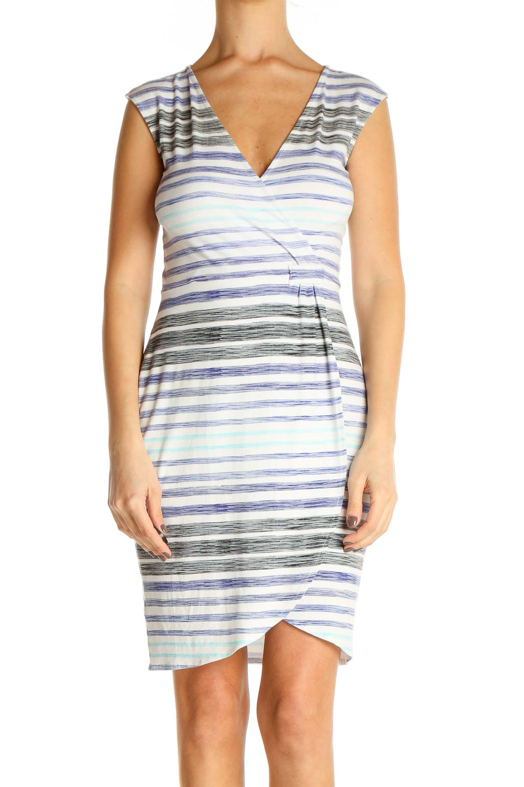 White Striped Sheath Dress Front