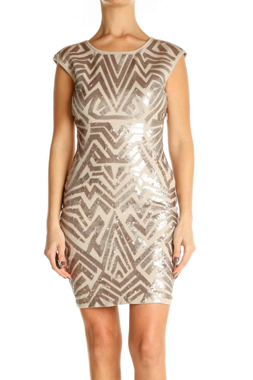 Beige Textured Sheath Dress Front