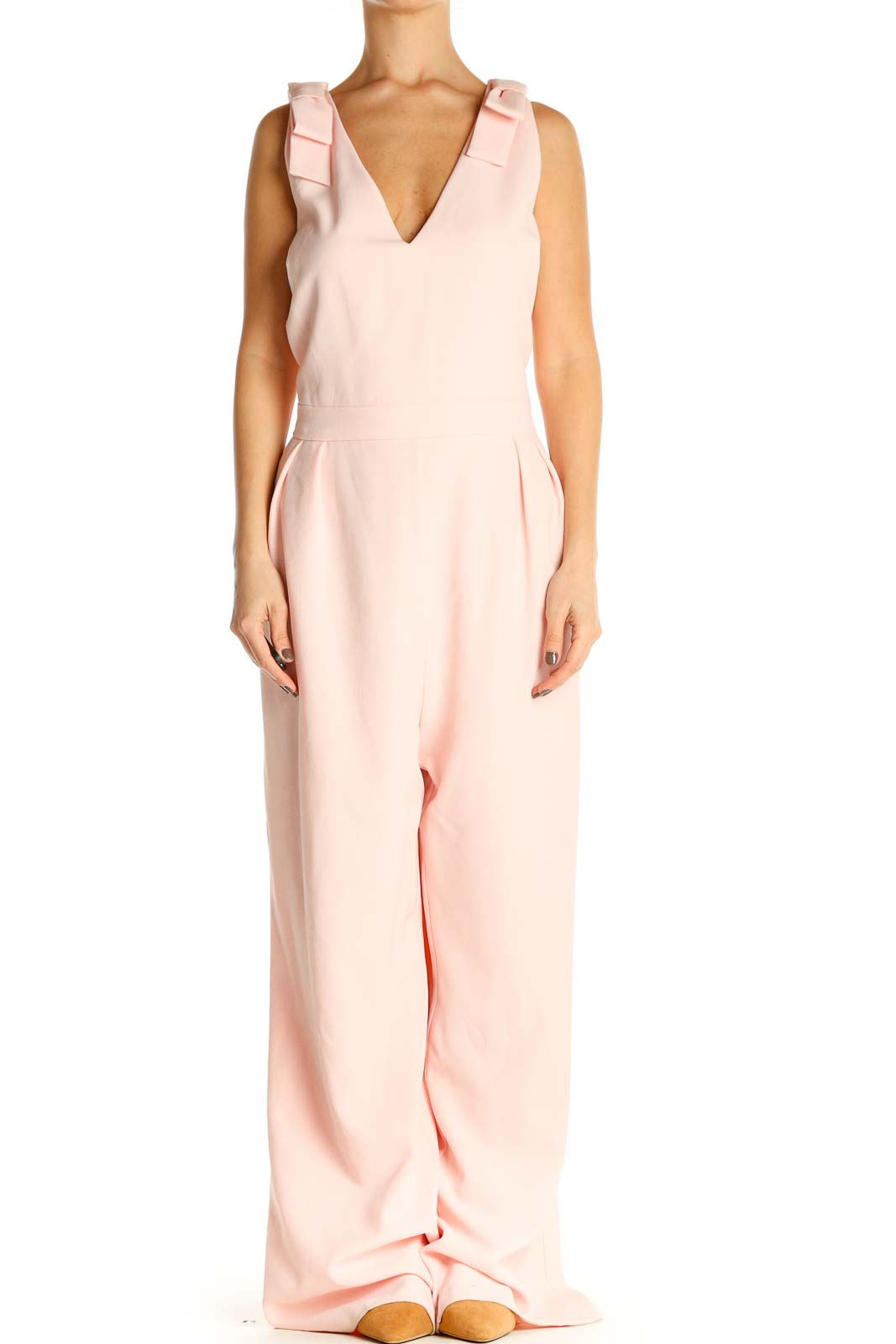 Pink Solid Column Dress Front