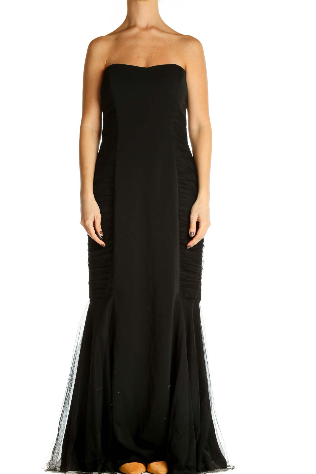 Black Solid Cocktail Mermaid Dress Front