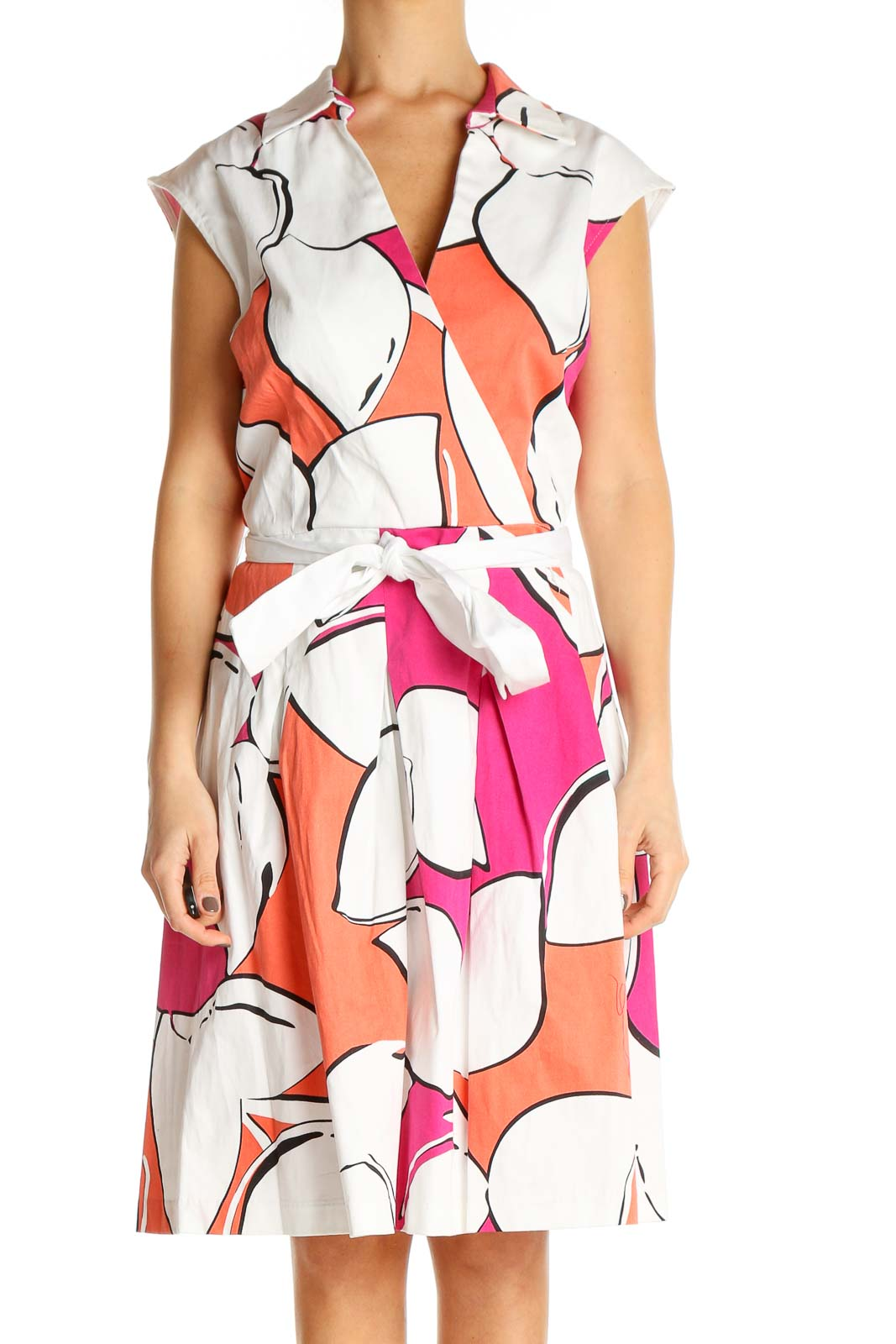 White Floral Print Sheath Dress Front