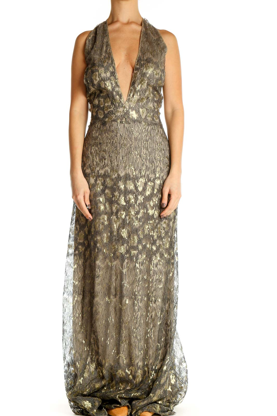 Brown Sequin Cocktail Column Dress Front