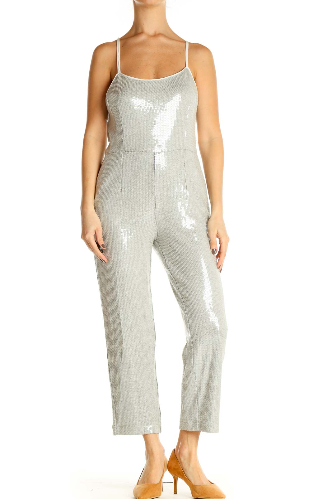 Gray Sequin Jumpsuit Front