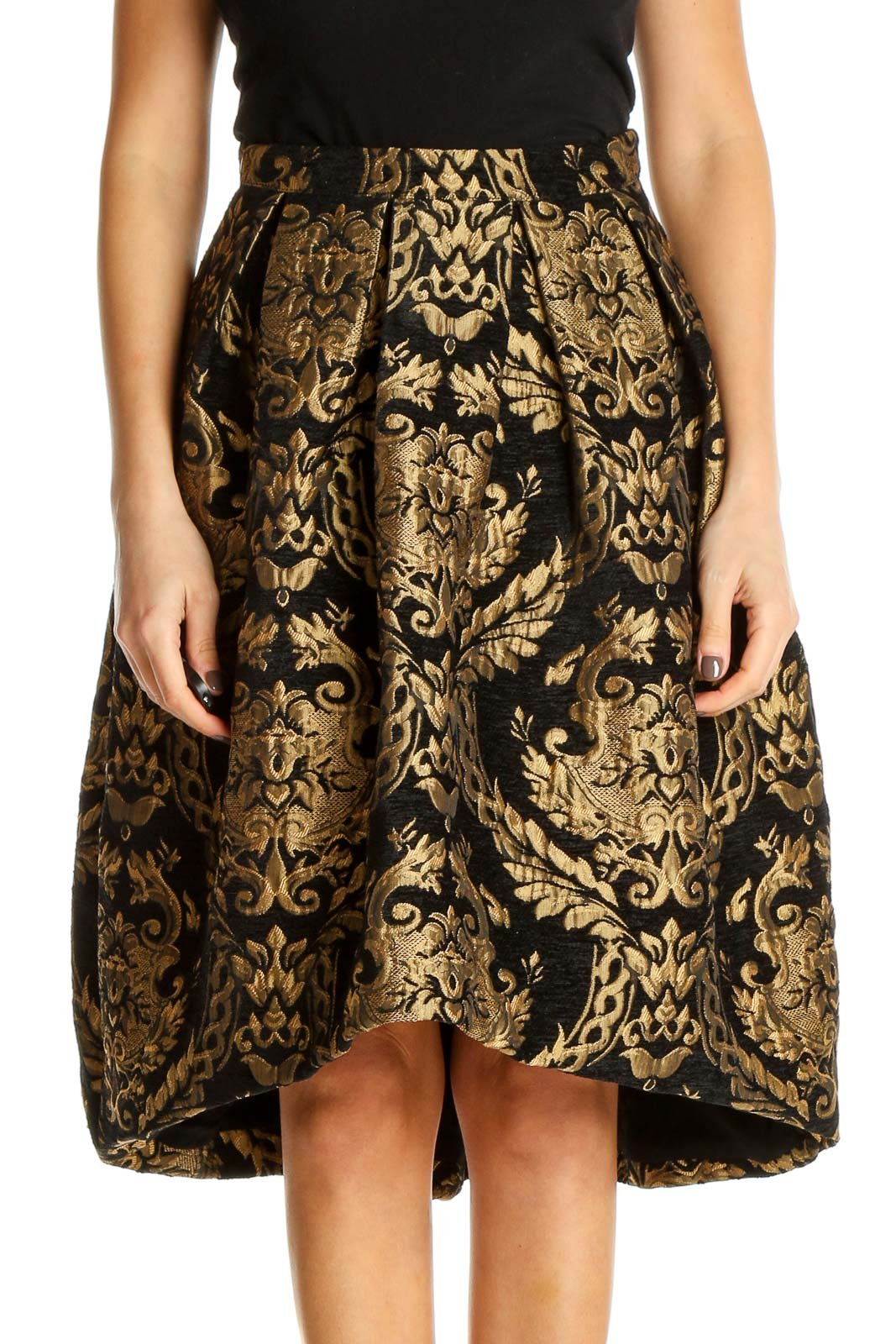 Brown Textured Retro A-Line Skirt Front
