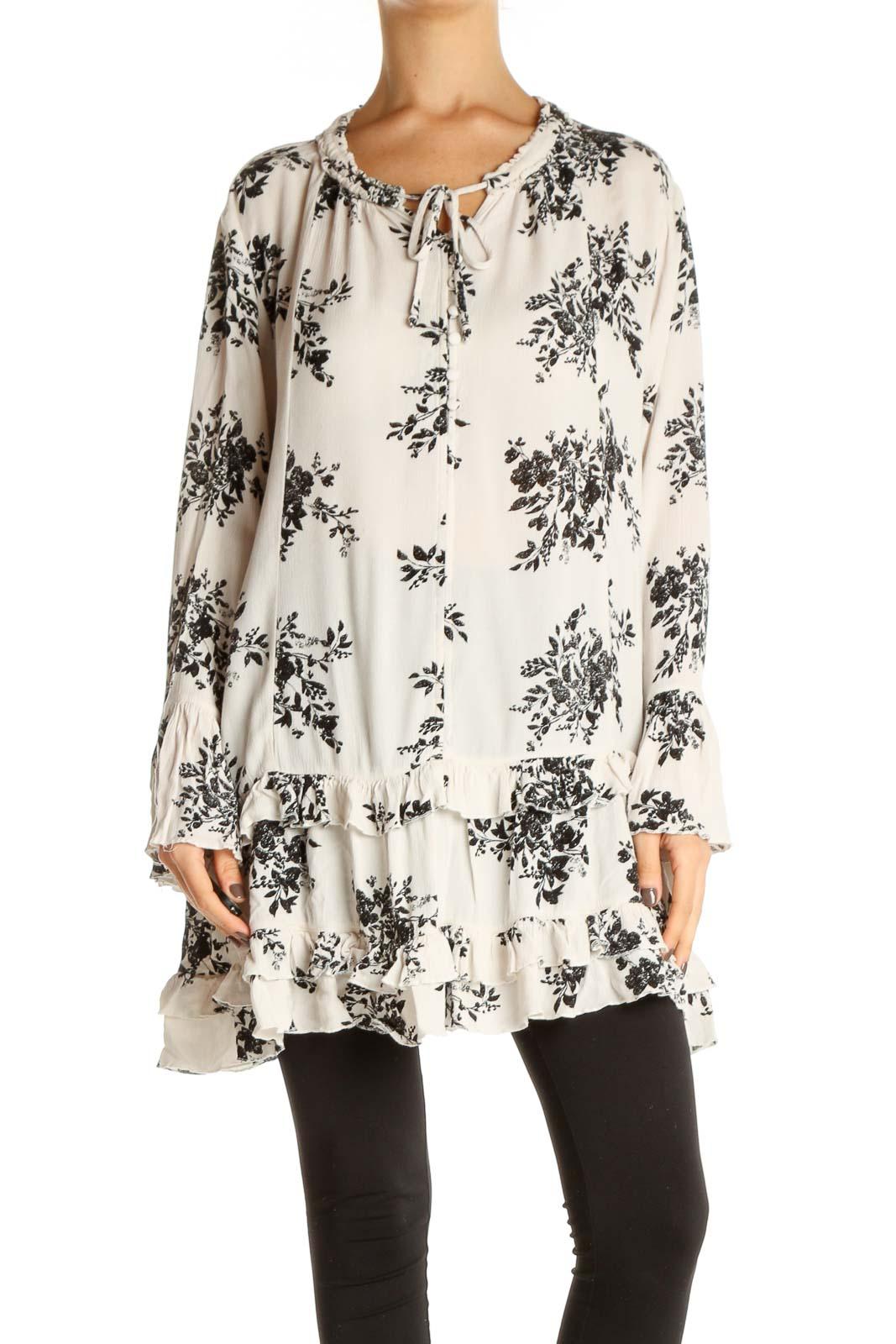Beige Floral Print Shift Dress Front