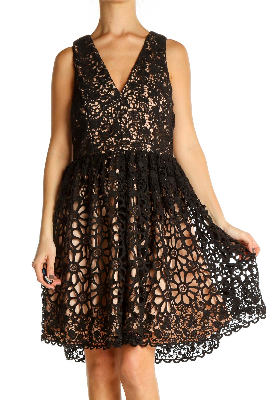 Black Sequin Cocktail Fit & Flare Dress Front