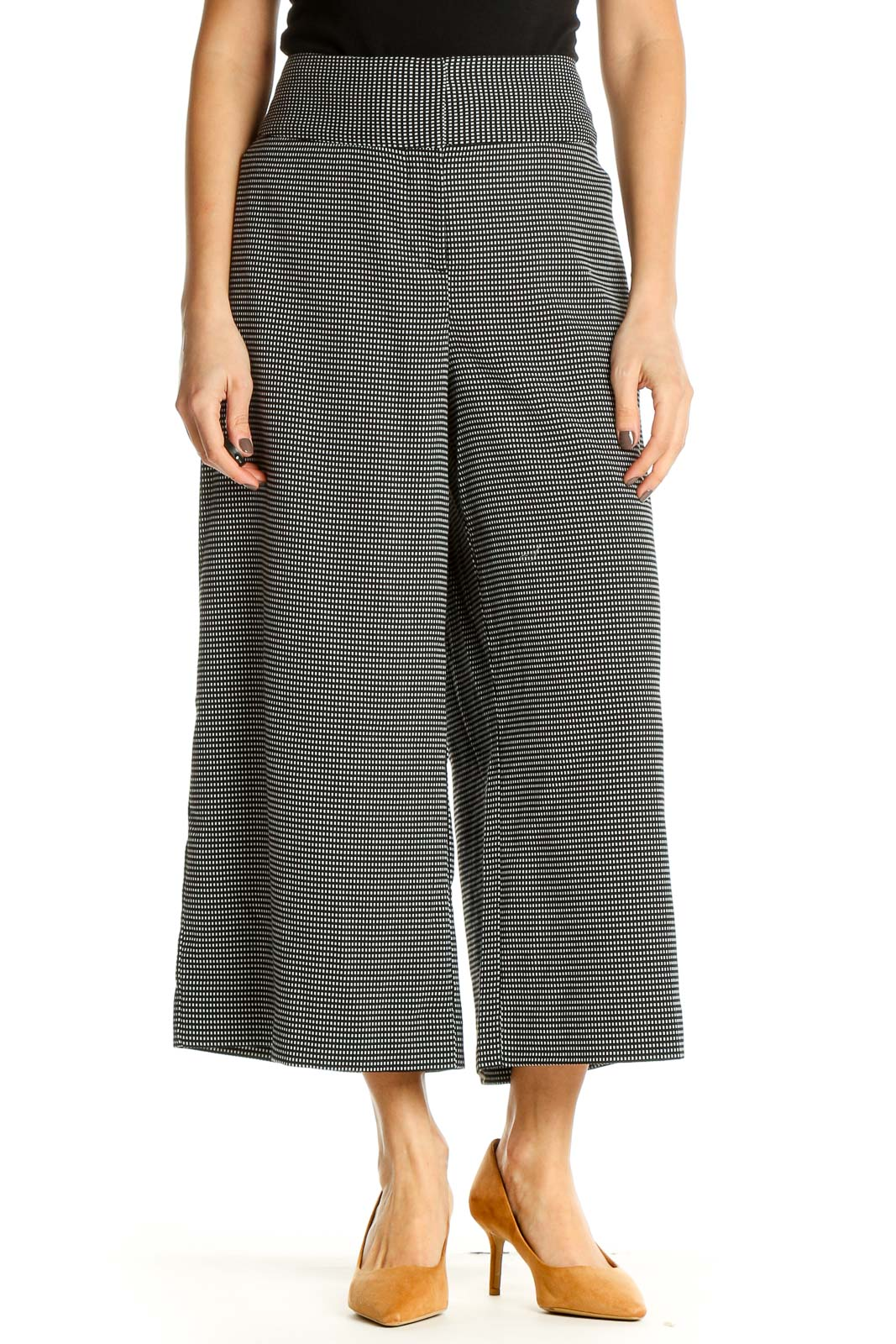 Gray Solid Bohemian Culottes Pants Front