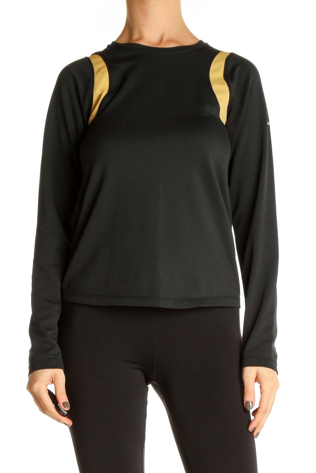 Black Colorblock Activewear Shirt Front
