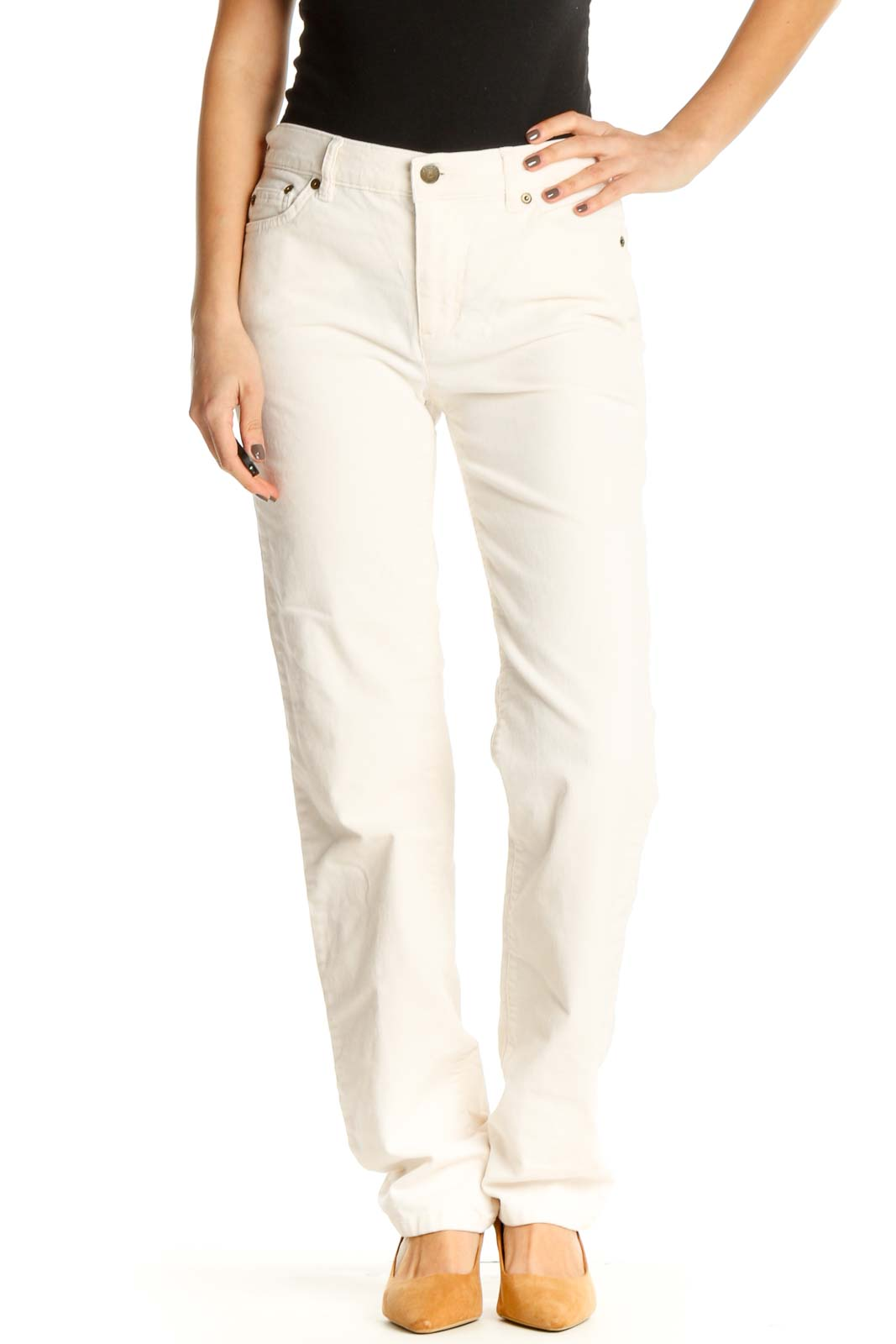 Beige Straight Leg Jeans Front