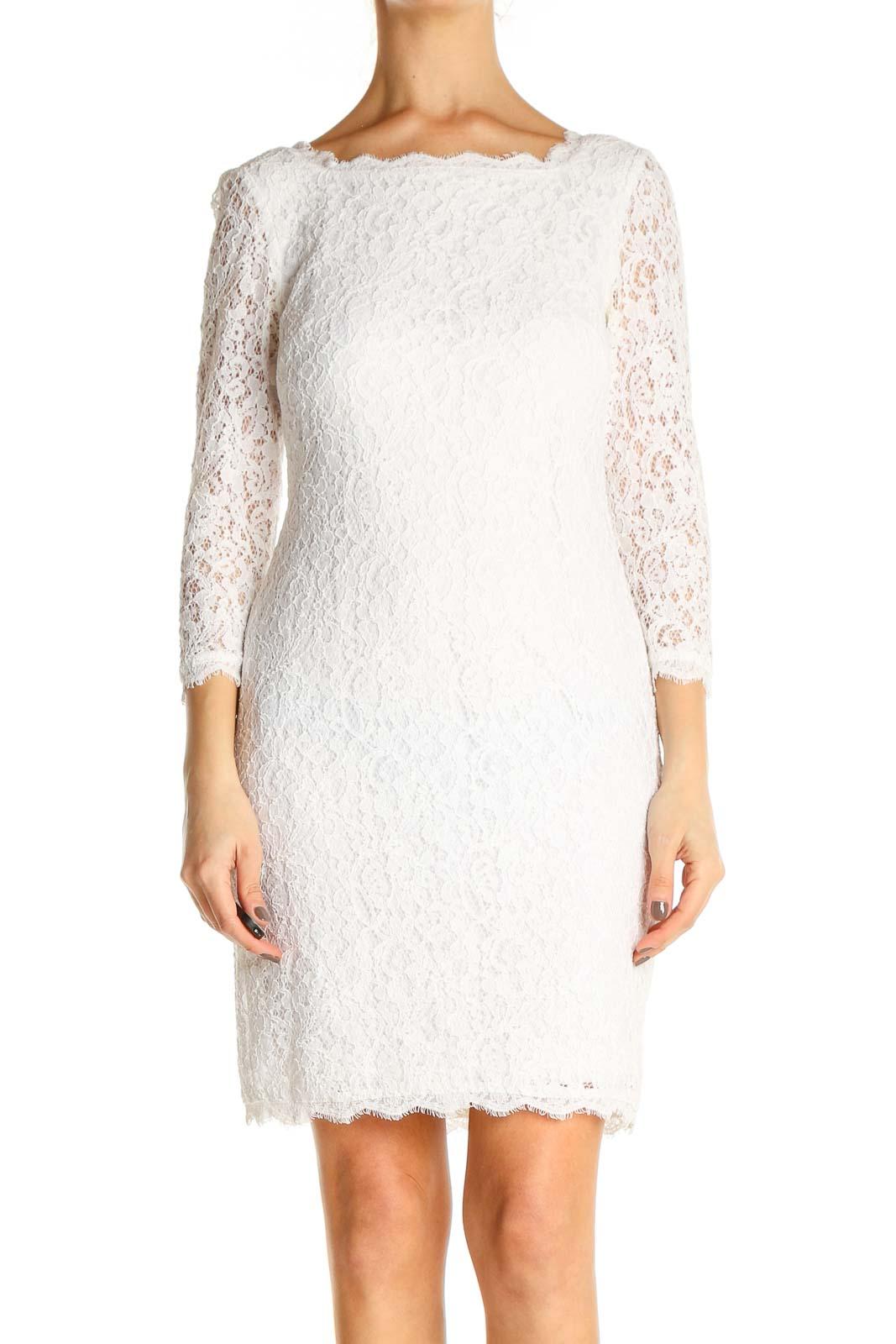 White Lace Classic Sheath Dress Front