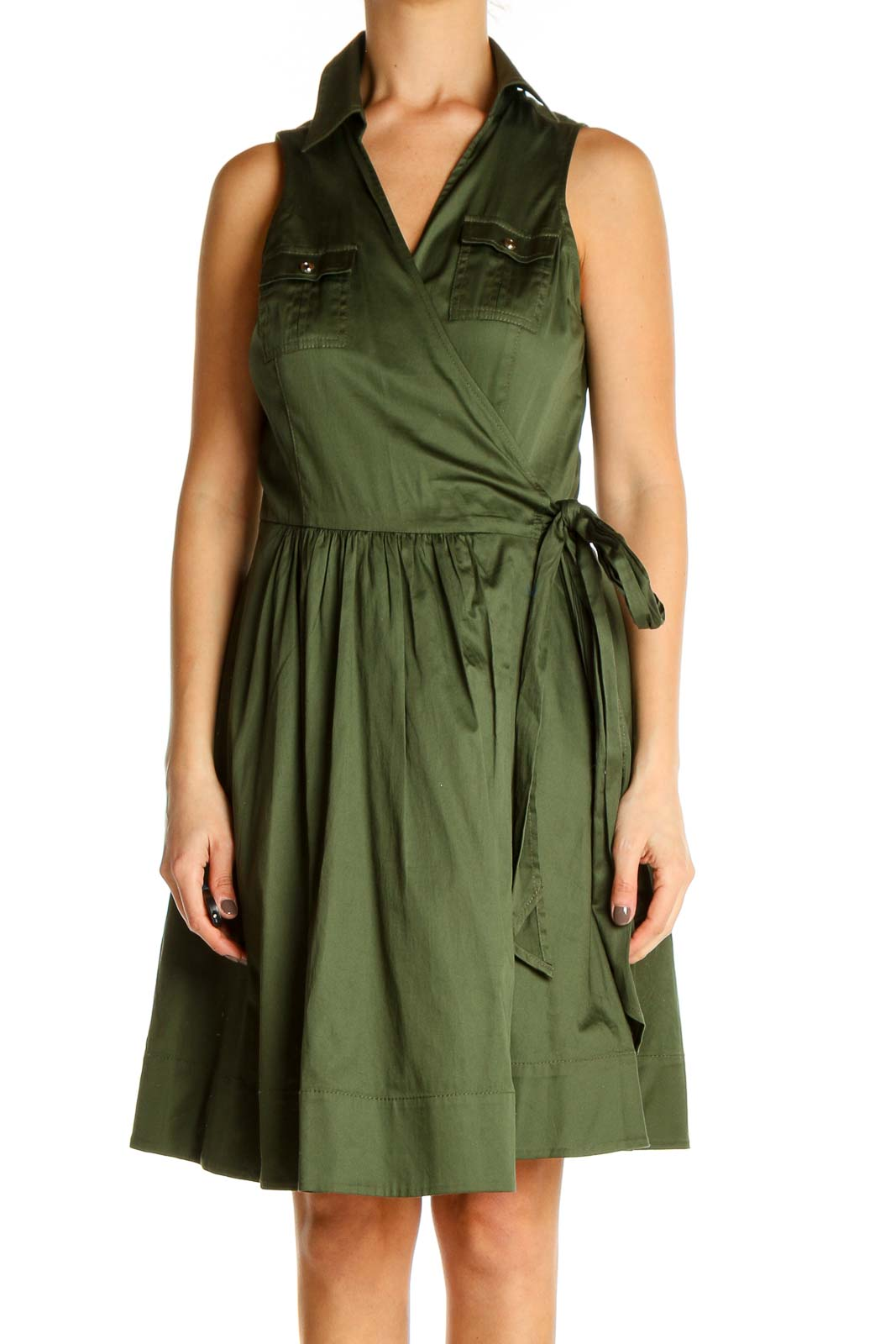 Green Solid Retro Fit & Flare Dress Front