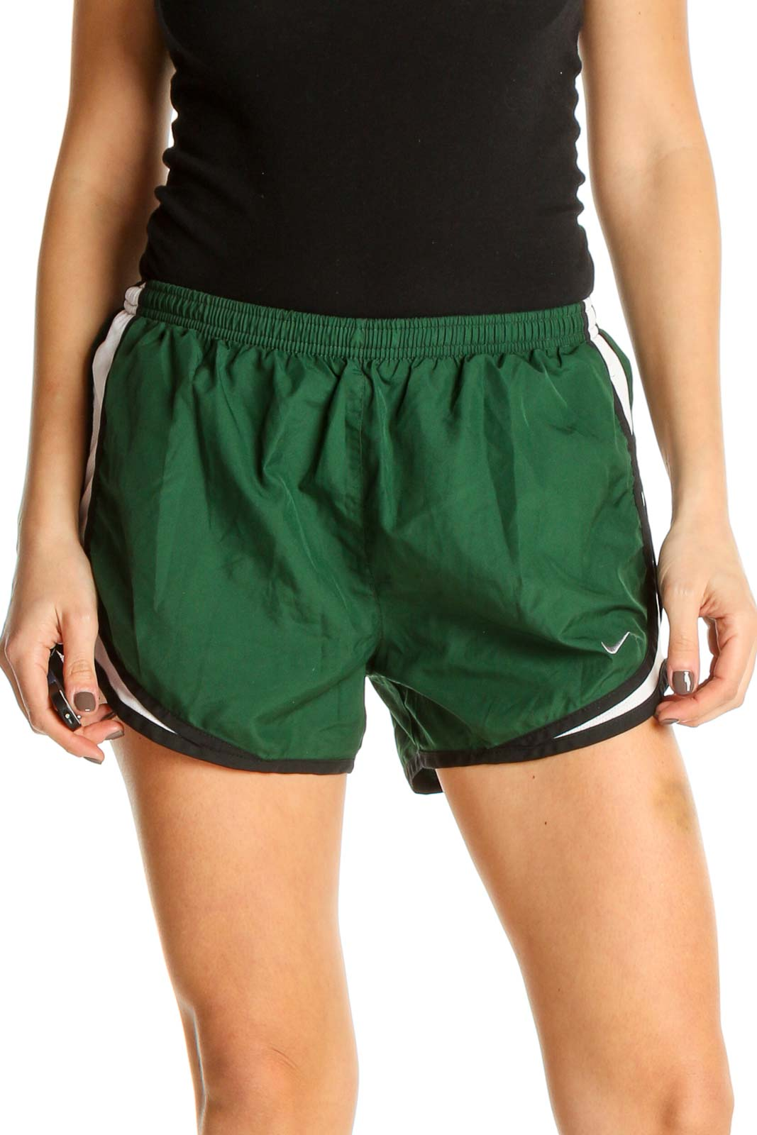 Green Solid Activewear Shorts Front