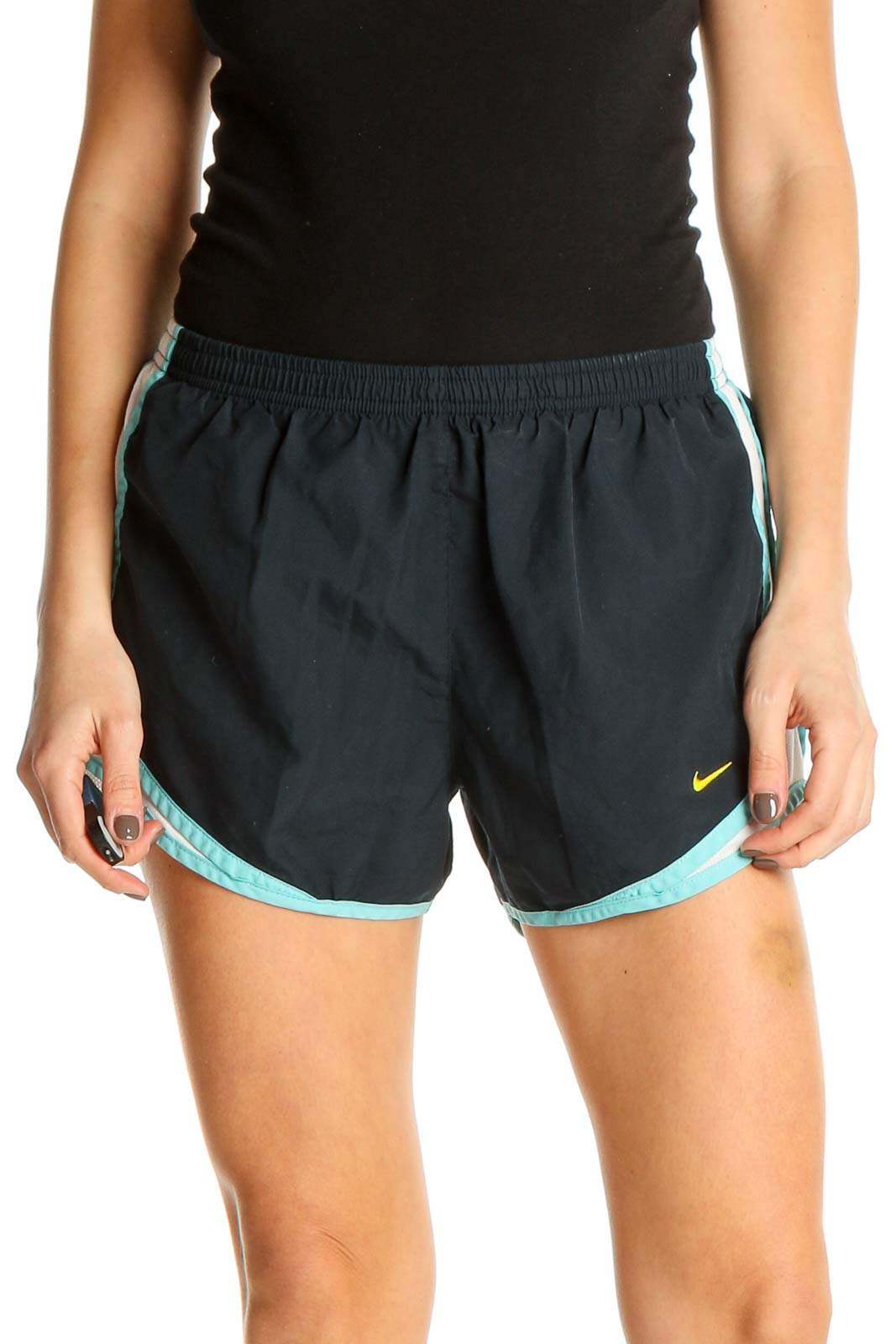 Blue Solid Activewear Shorts Front