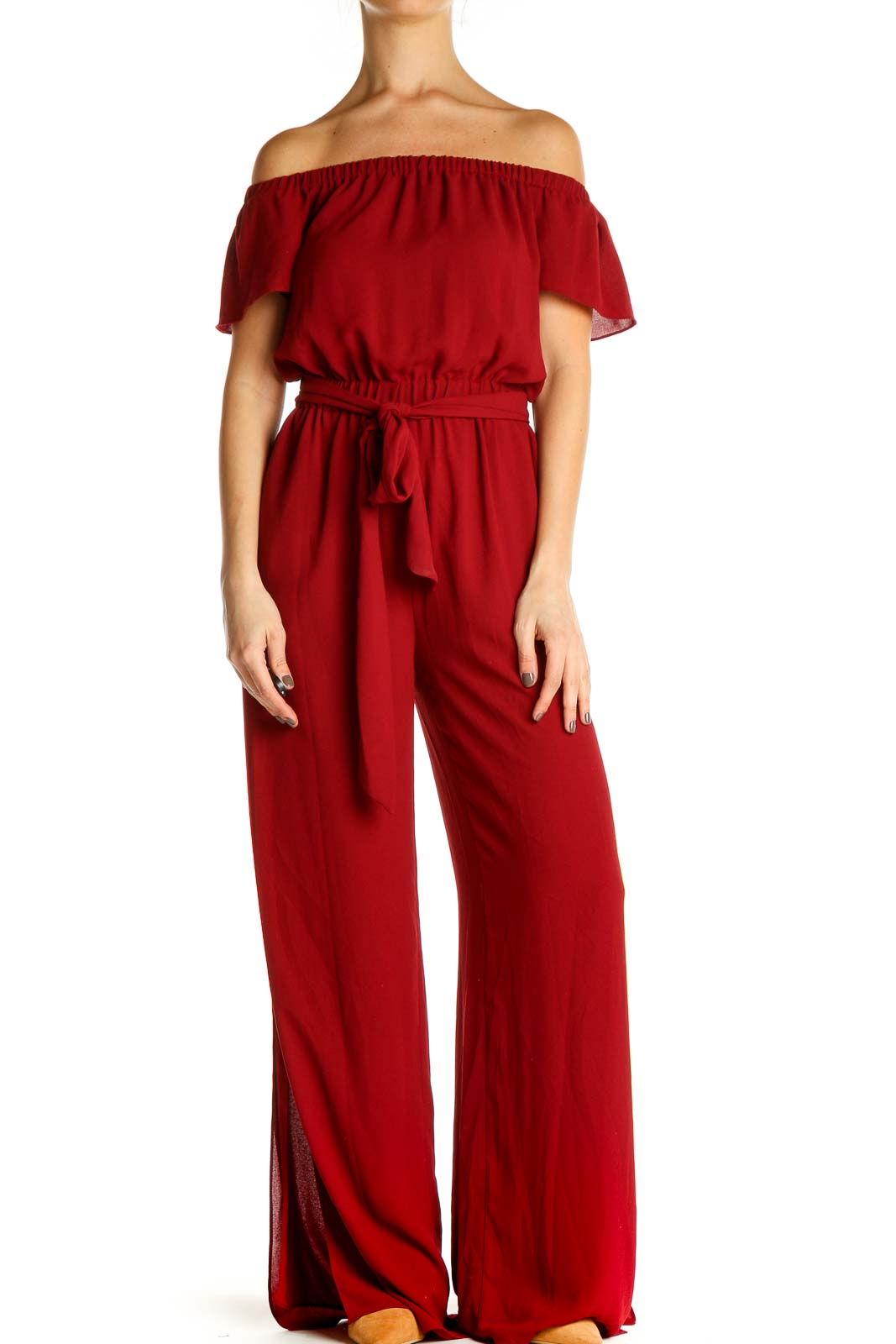 Red Solid Jumpsuit Front