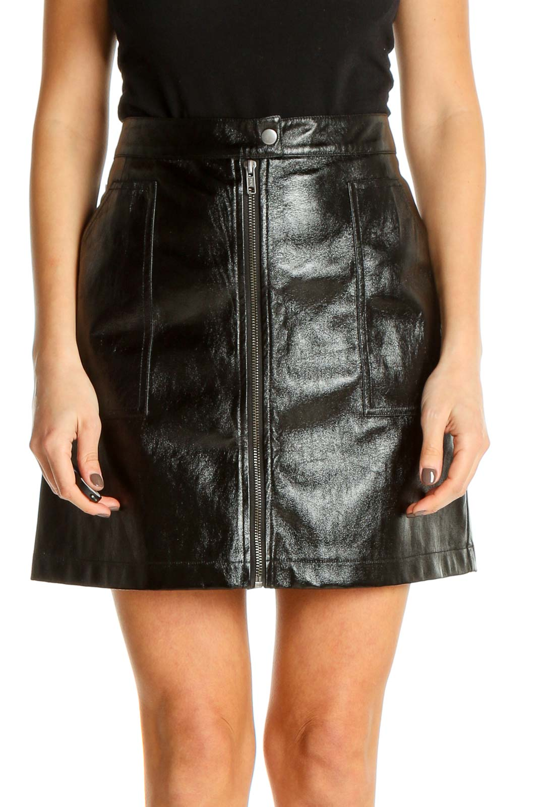 Black Textured Party A-Line Skirt Front