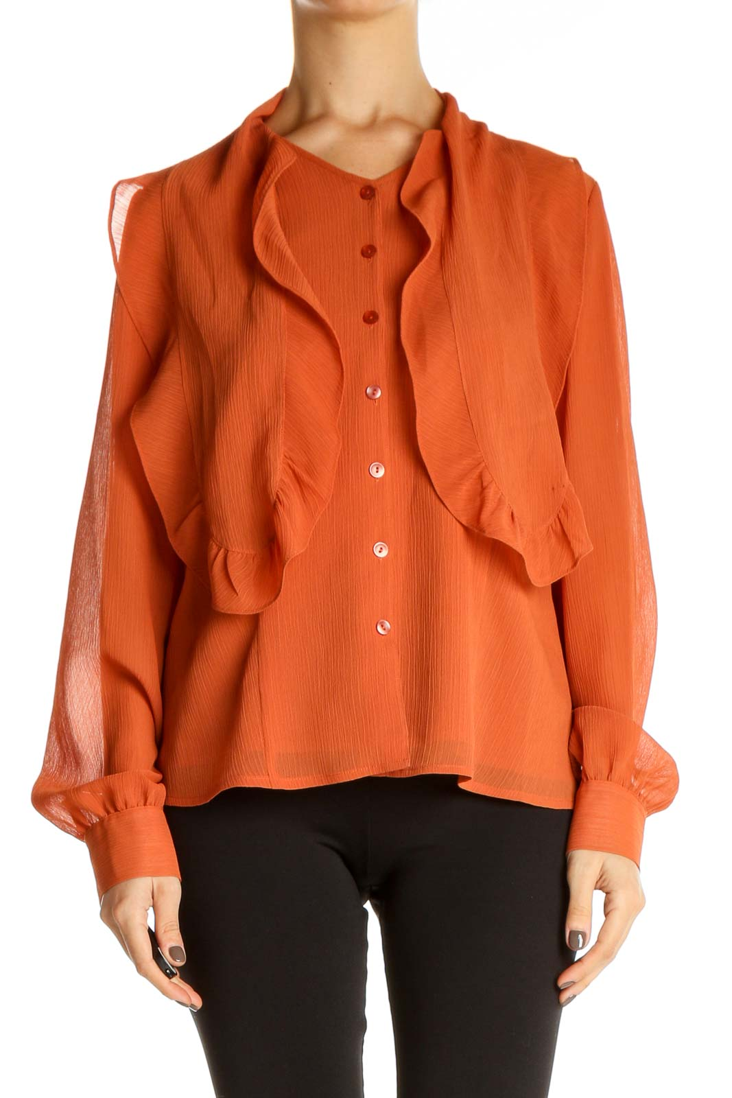 Orange Solid All Day Wear Shirt Front