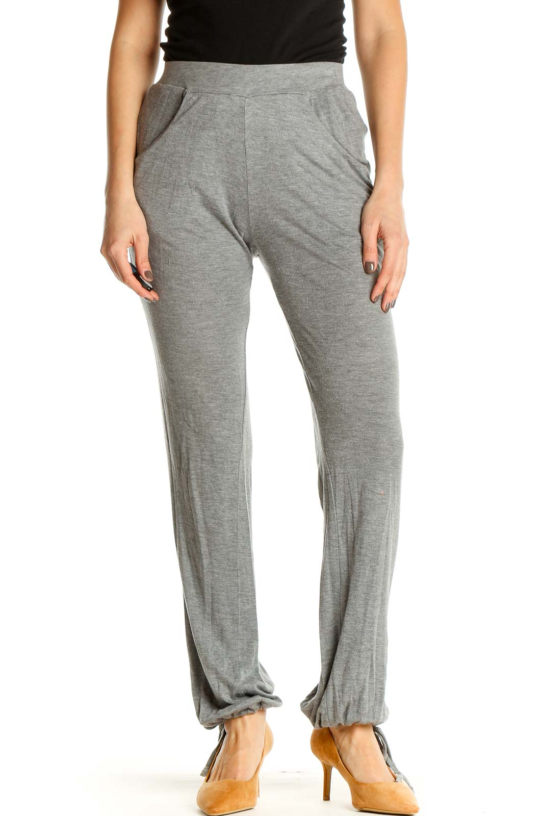 Gray Textured Casual Sweatpants Front