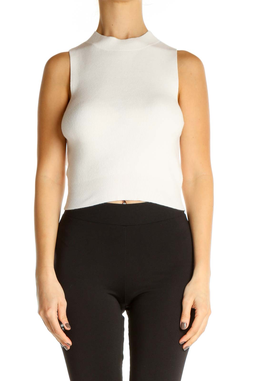 White Solid Chic Tank Top Front