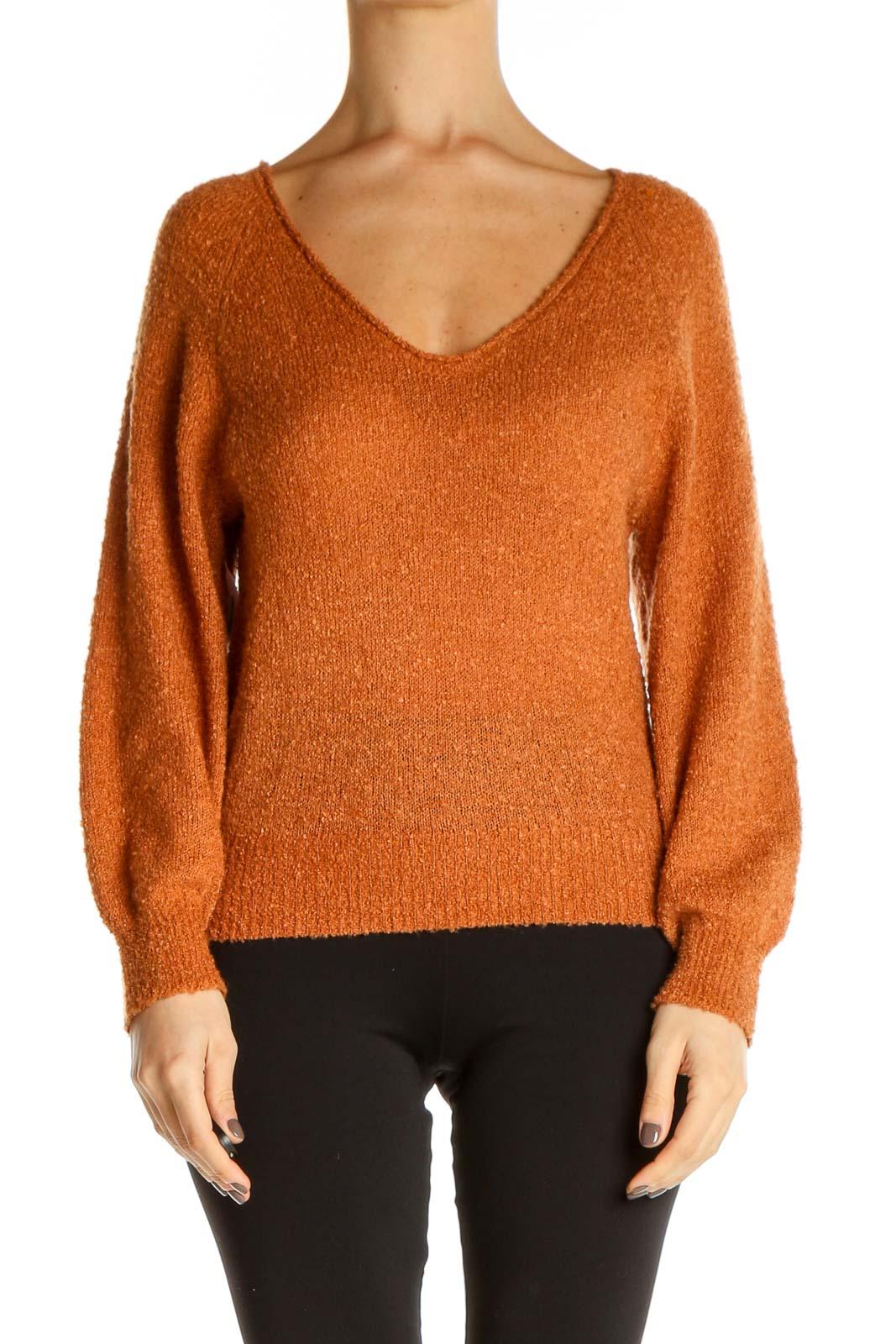 Orange Textured All Day Wear Sweater Front