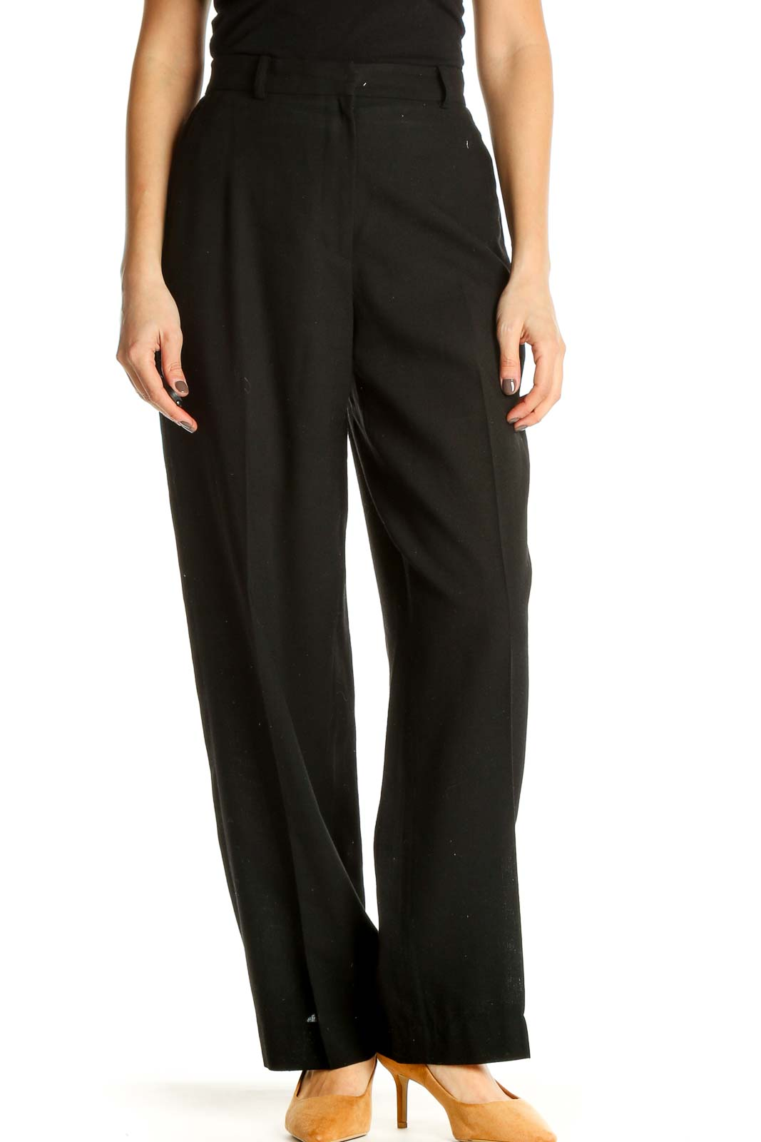 Black Solid Classic Trousers Front