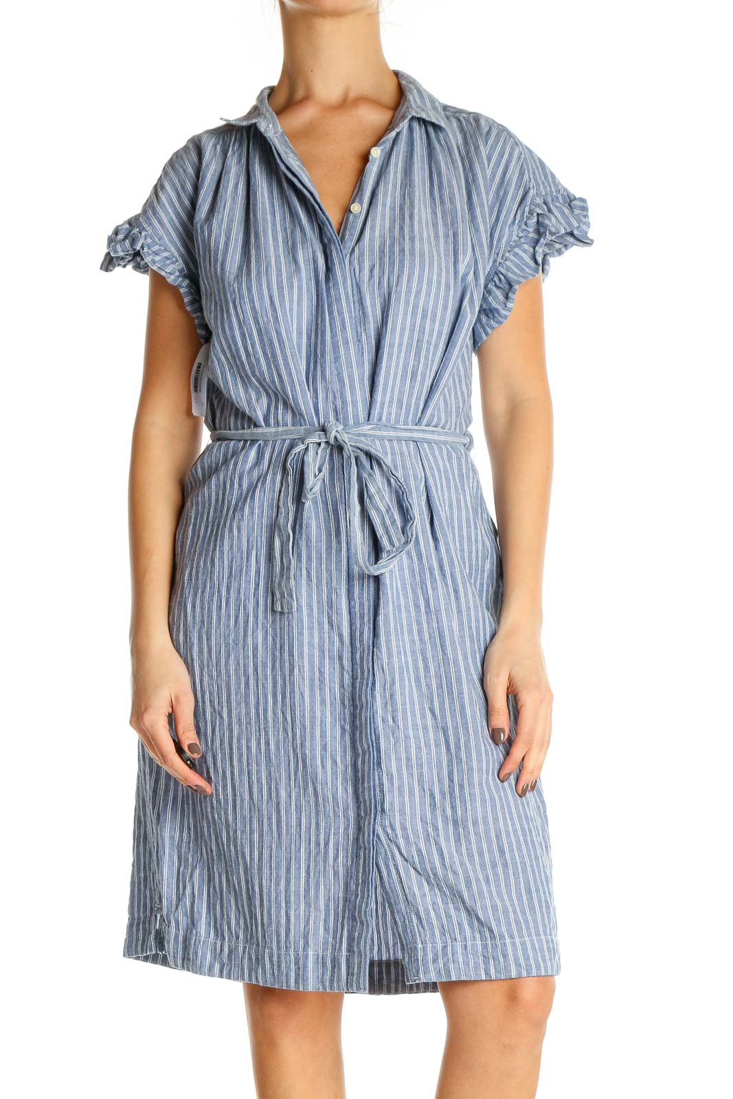 Blue Striped Fit & Flare Dress Front