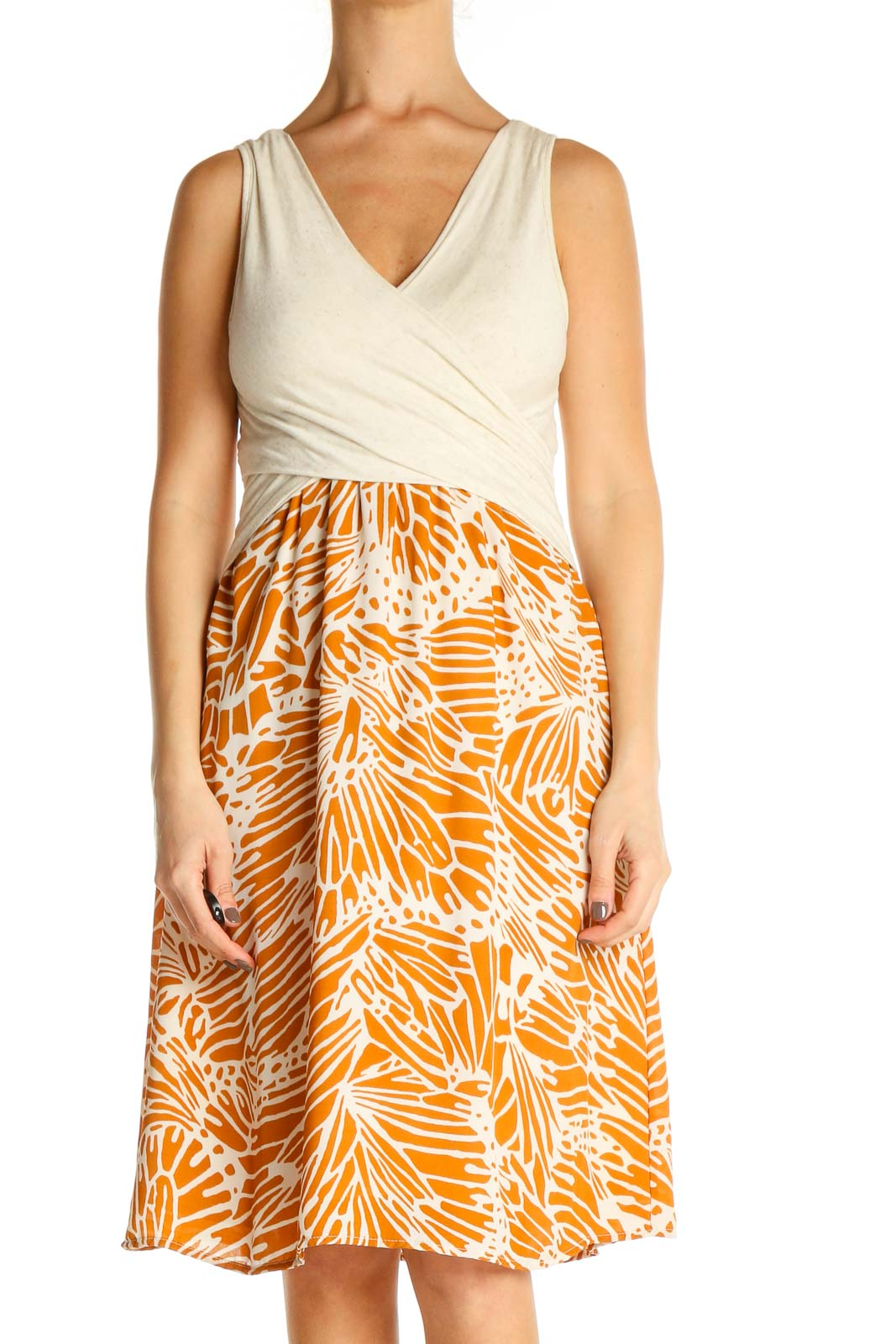 Orange Tropical Print Retro Fit & Flare Dress Front