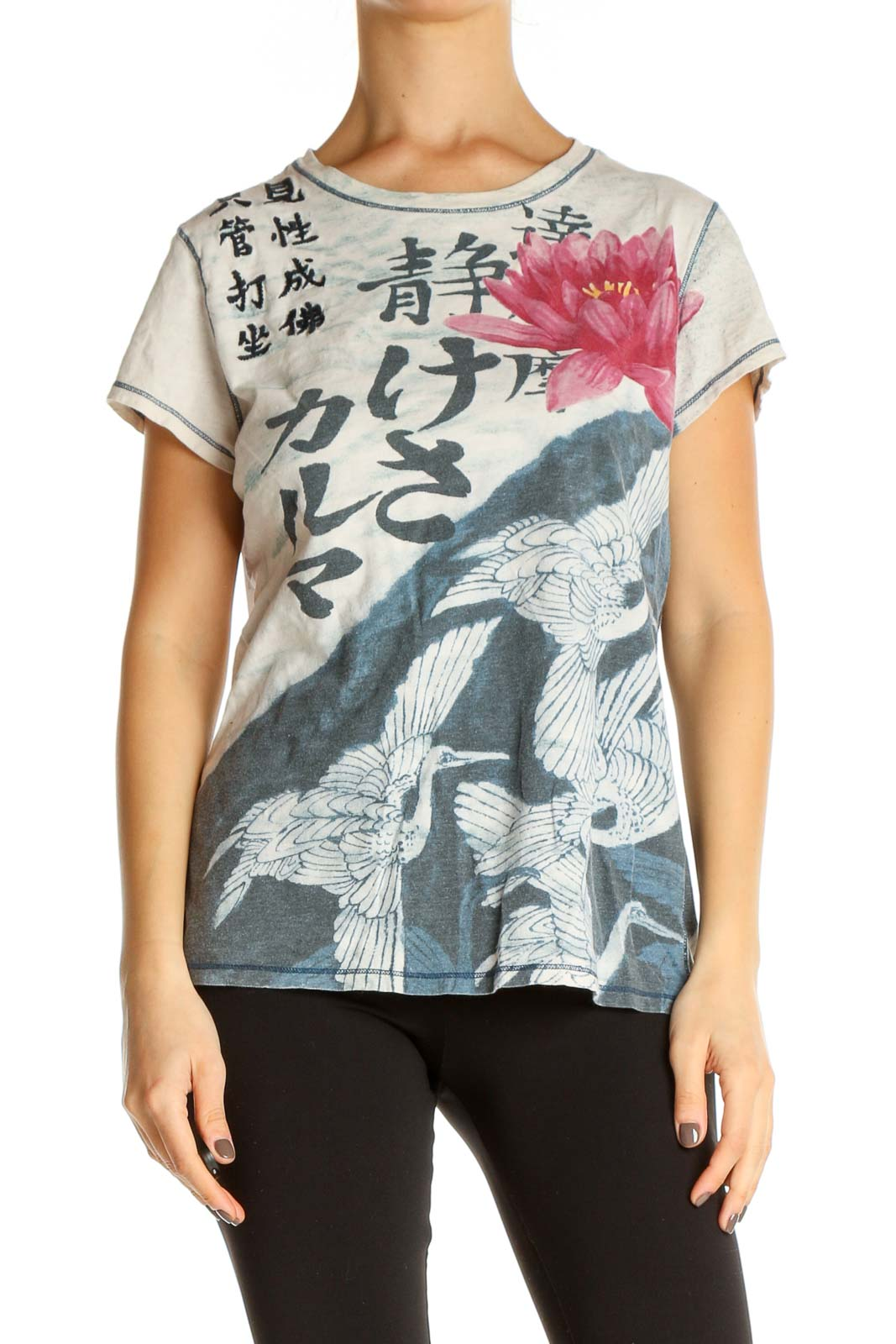 Pink Graphic Print Casual T-Shirt Front