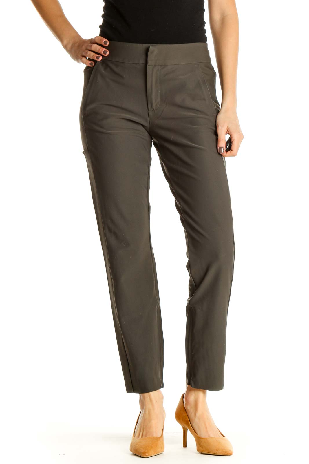 Brown Solid All Day Wear Trousers Front