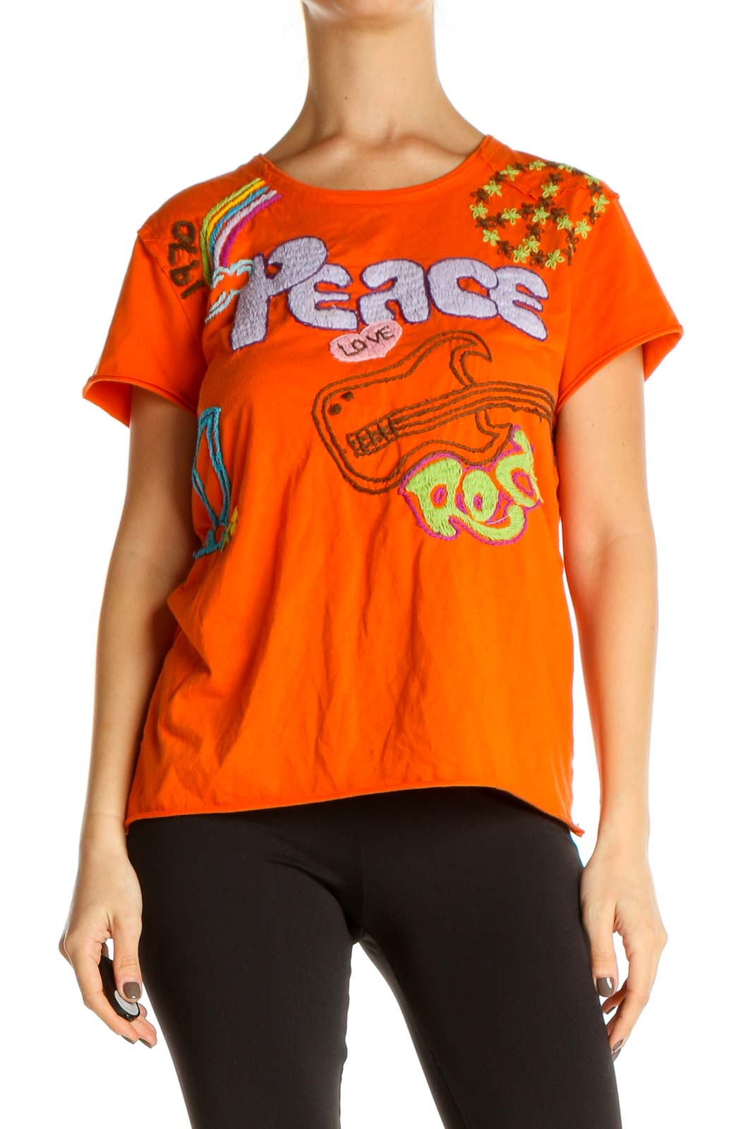 Orange Graphic Print All Day Wear T-Shirt Front