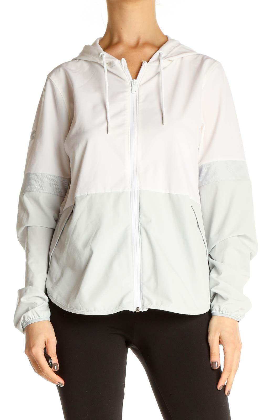 White Windbreaker Jacket Front