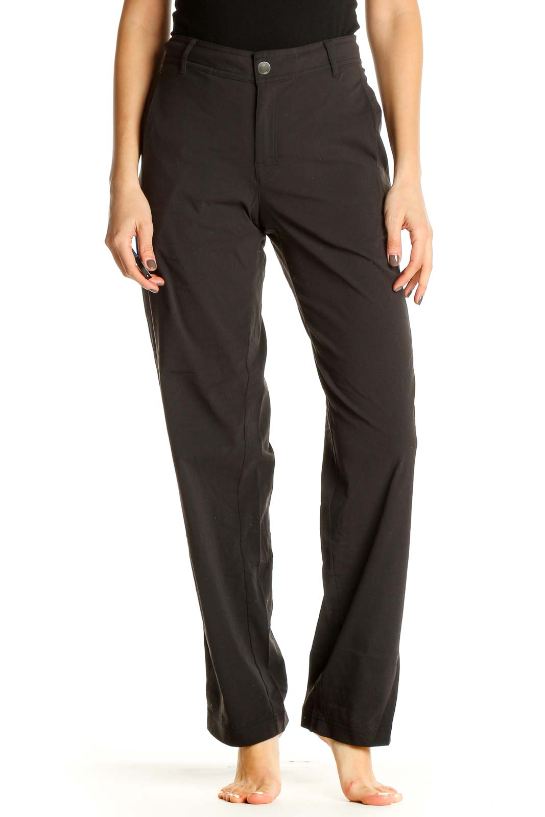 Black Solid All Day Wear Trousers Front