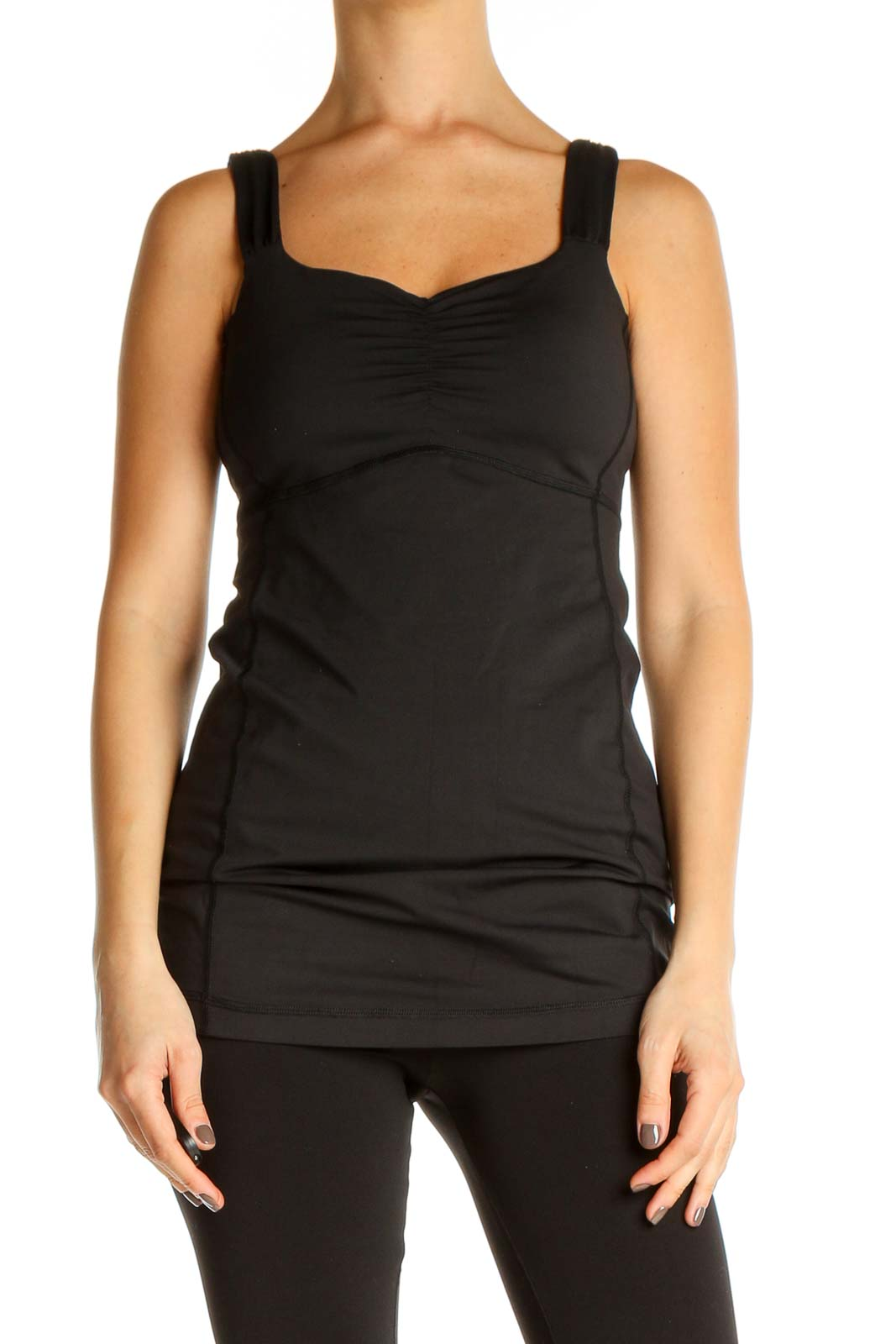 Black Solid Activewear Top Front
