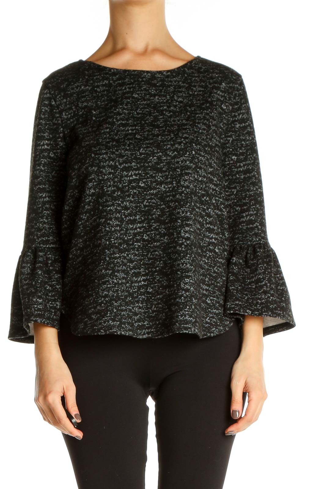 Black Textured All Day Wear Blouse Front
