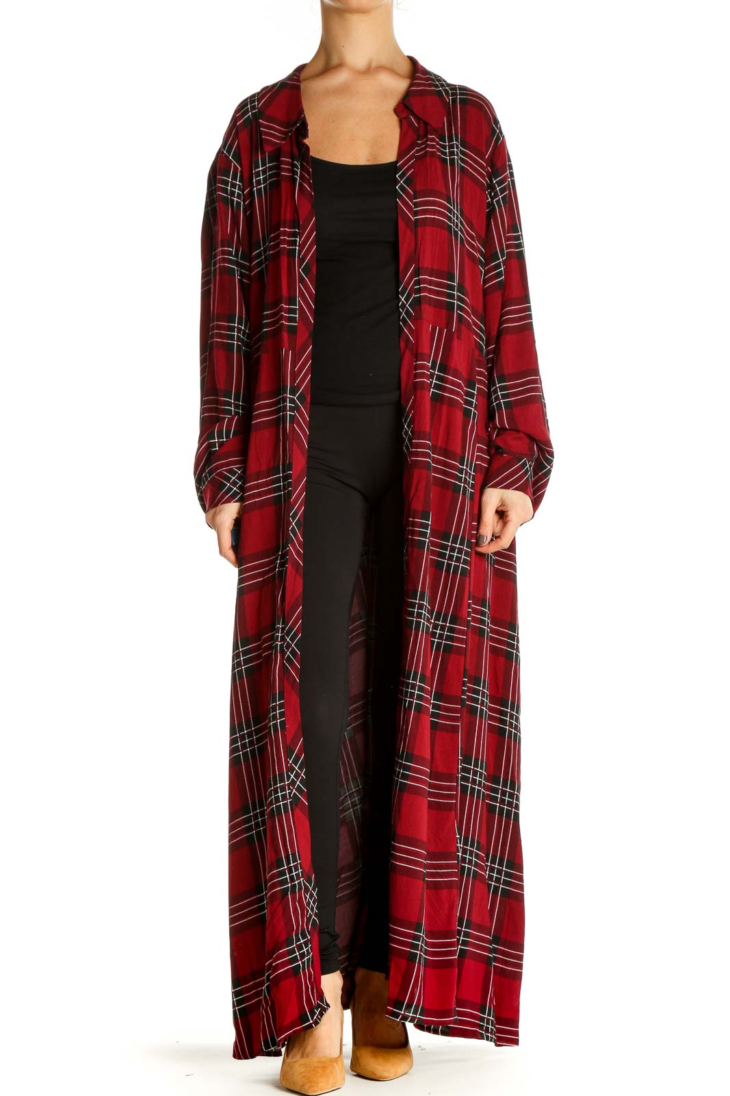 Red Checkered Cardigan Front