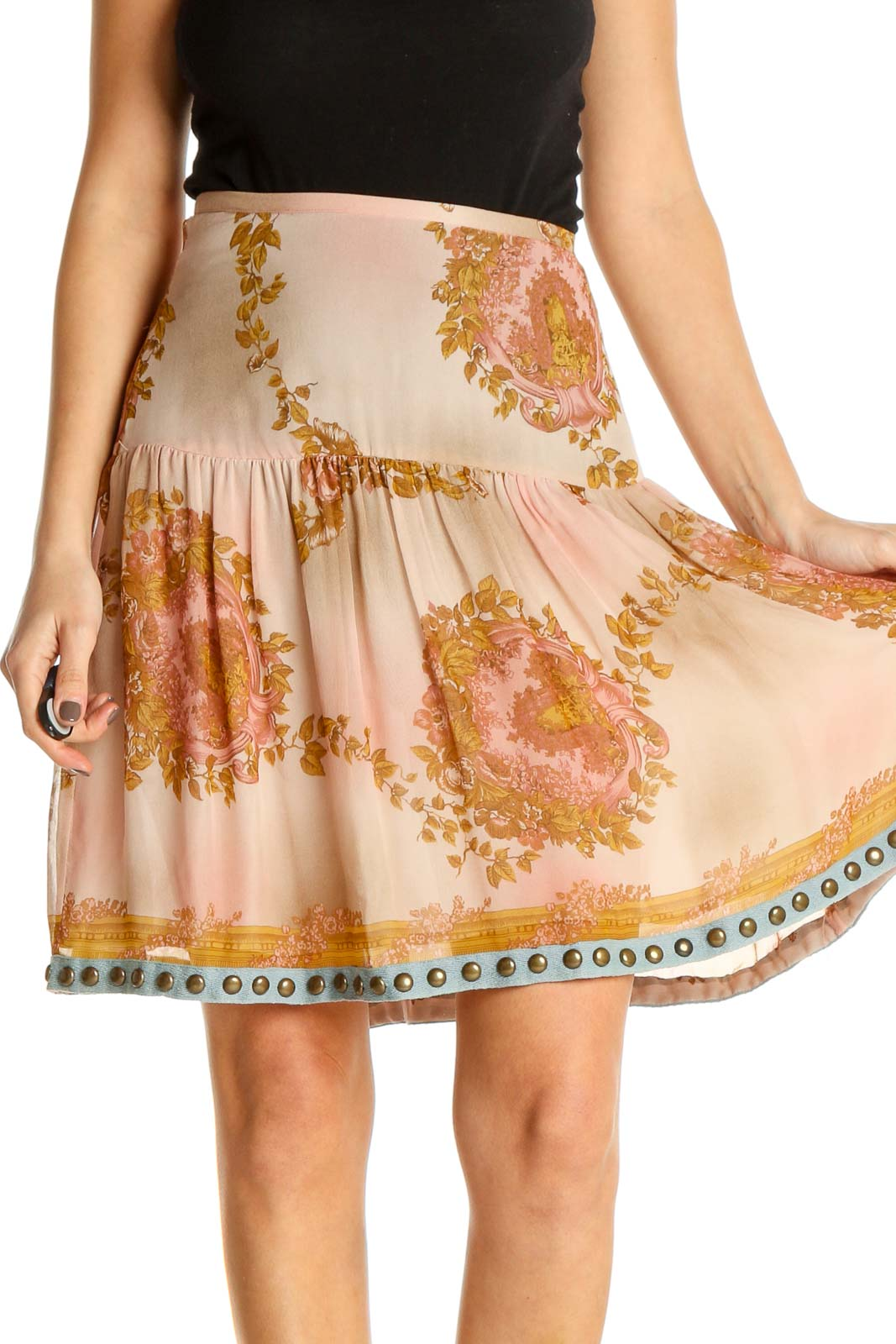 Beige Printed Chic A-Line Skirt Front