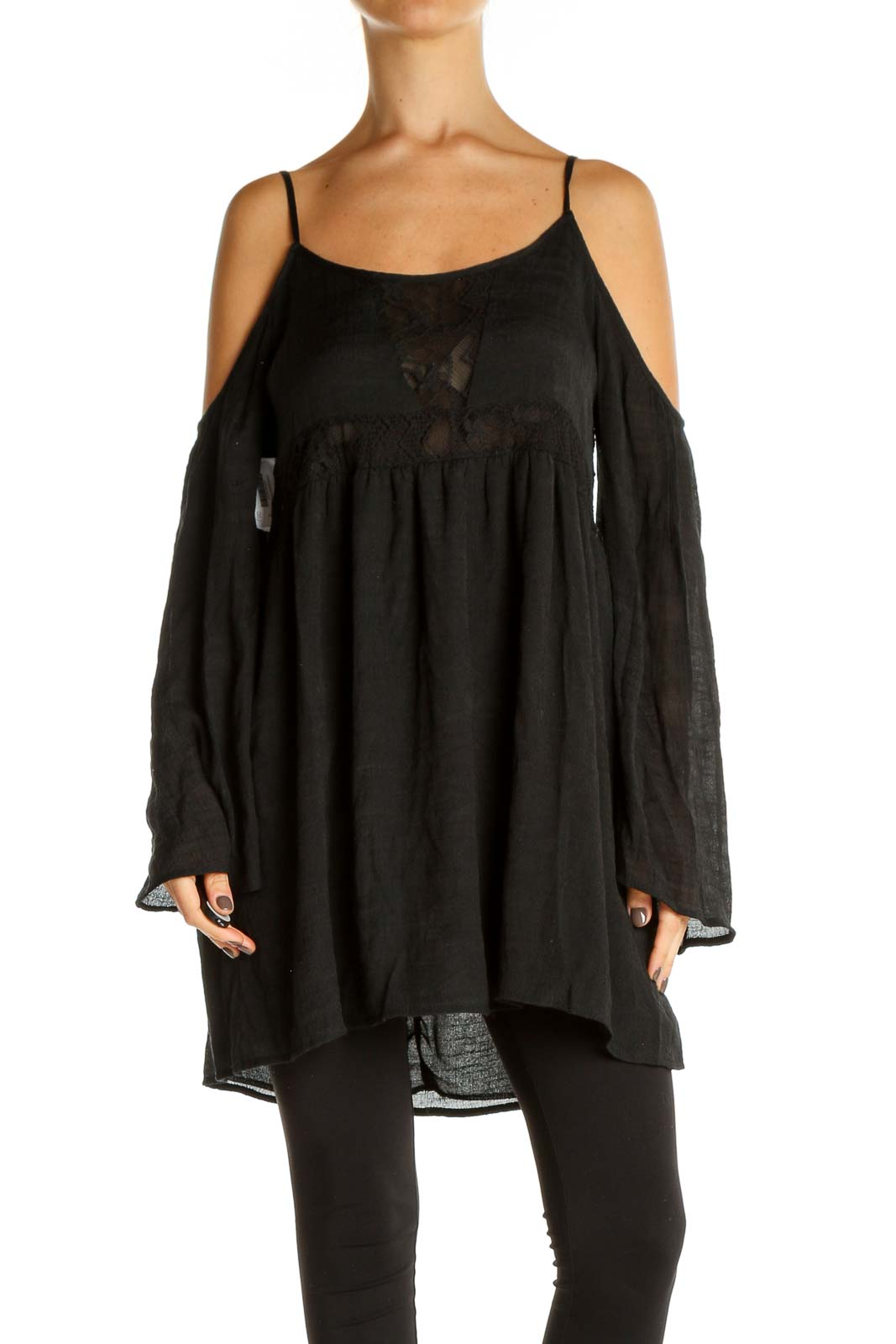 Black Solid Bohemian Top Front